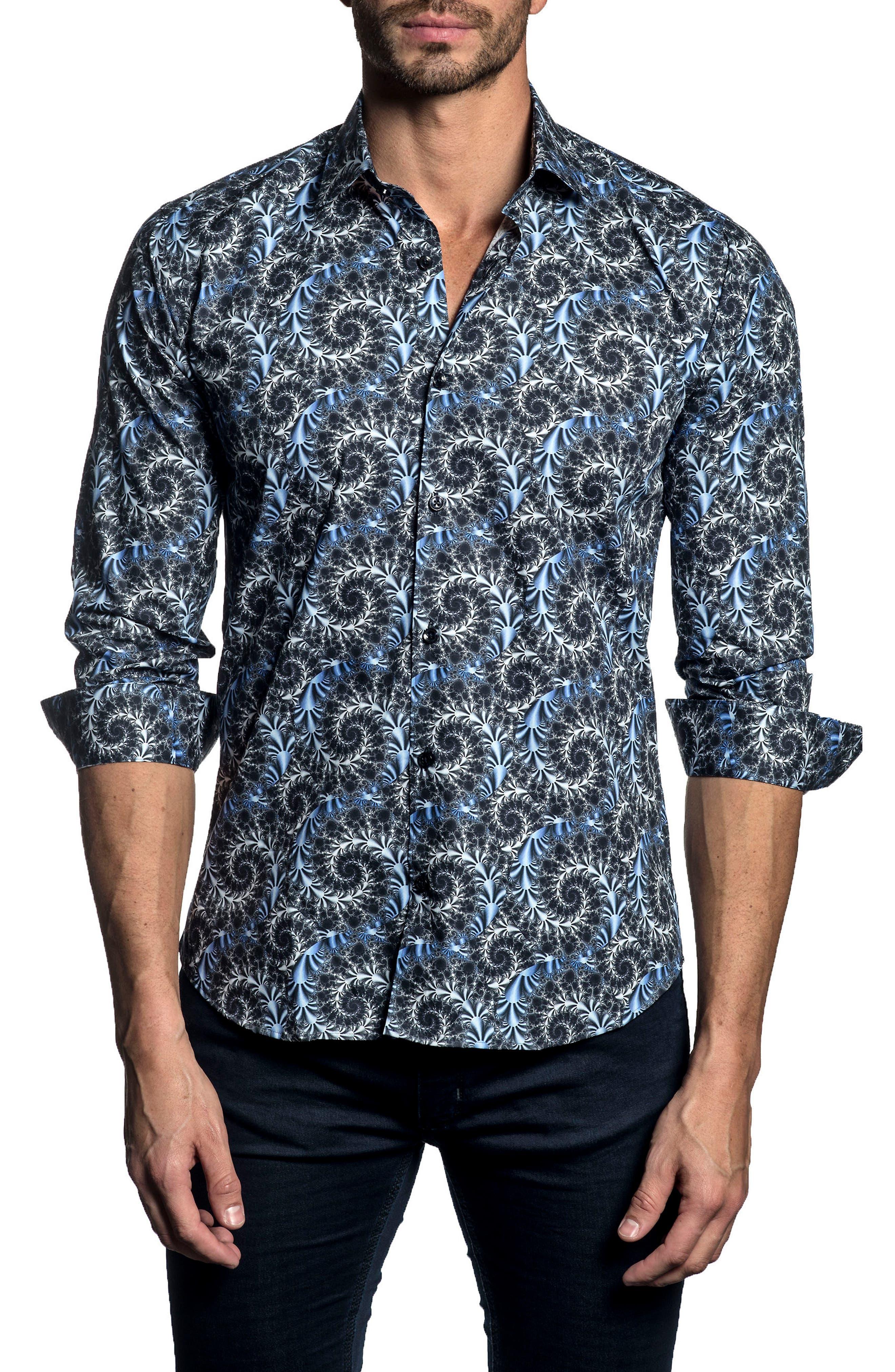 Trim Fit Print Sport Shirt,                         Main,                         color, Dark Navy