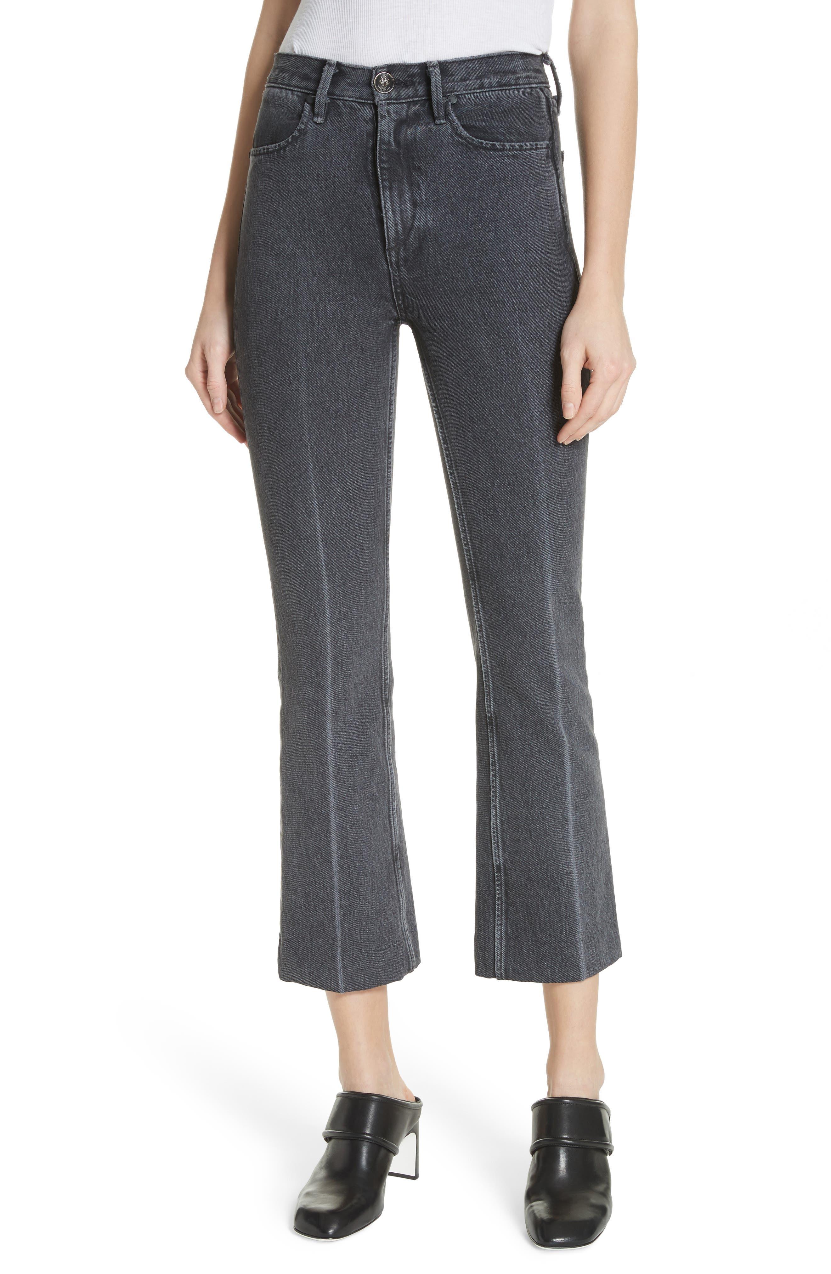 Dylan High Waist Crop Kick Flare Jeans,                         Main,                         color, Grey Kuro