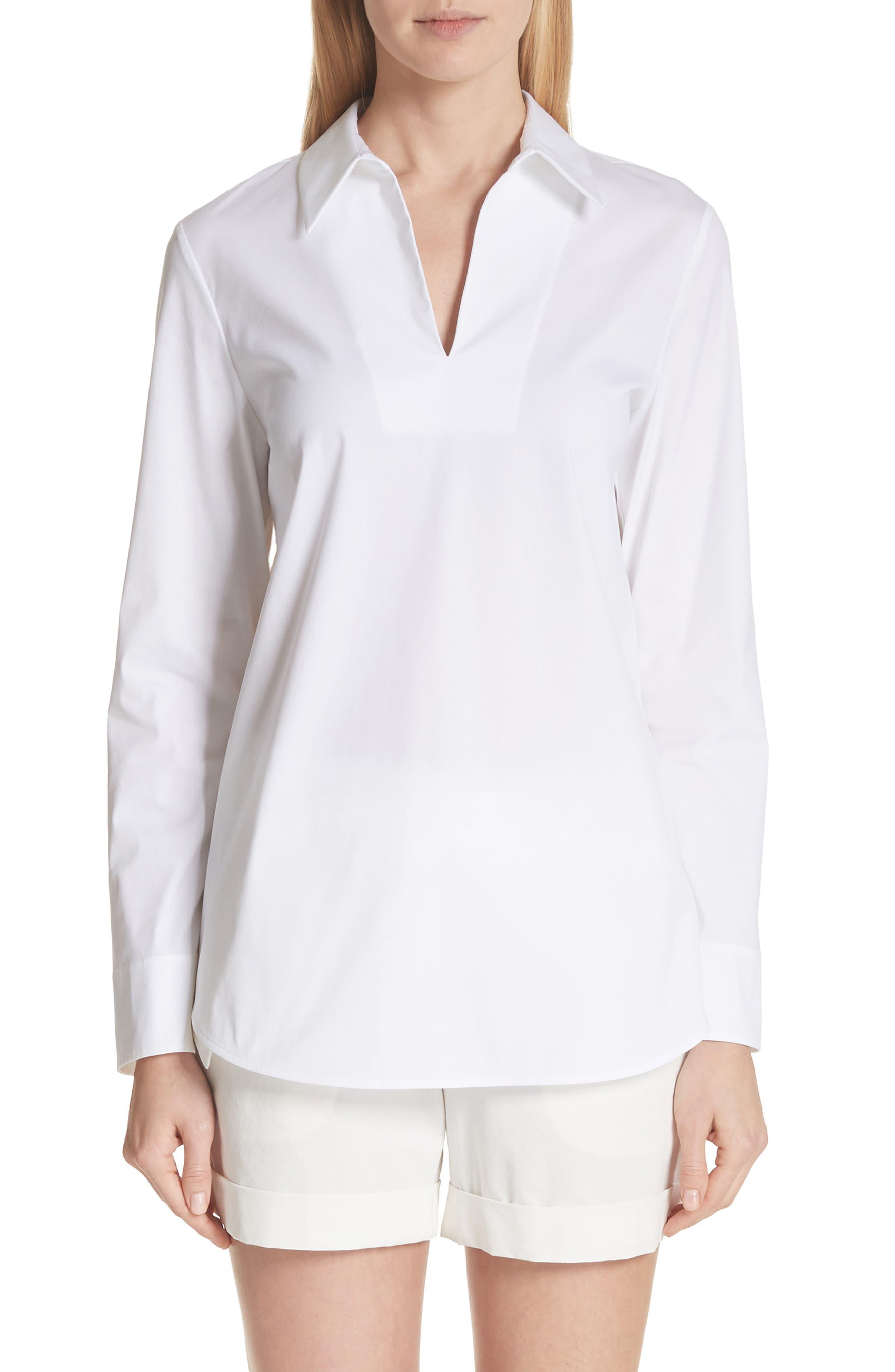 Carell Split Neck Poplin Top,                         Main,                         color, White