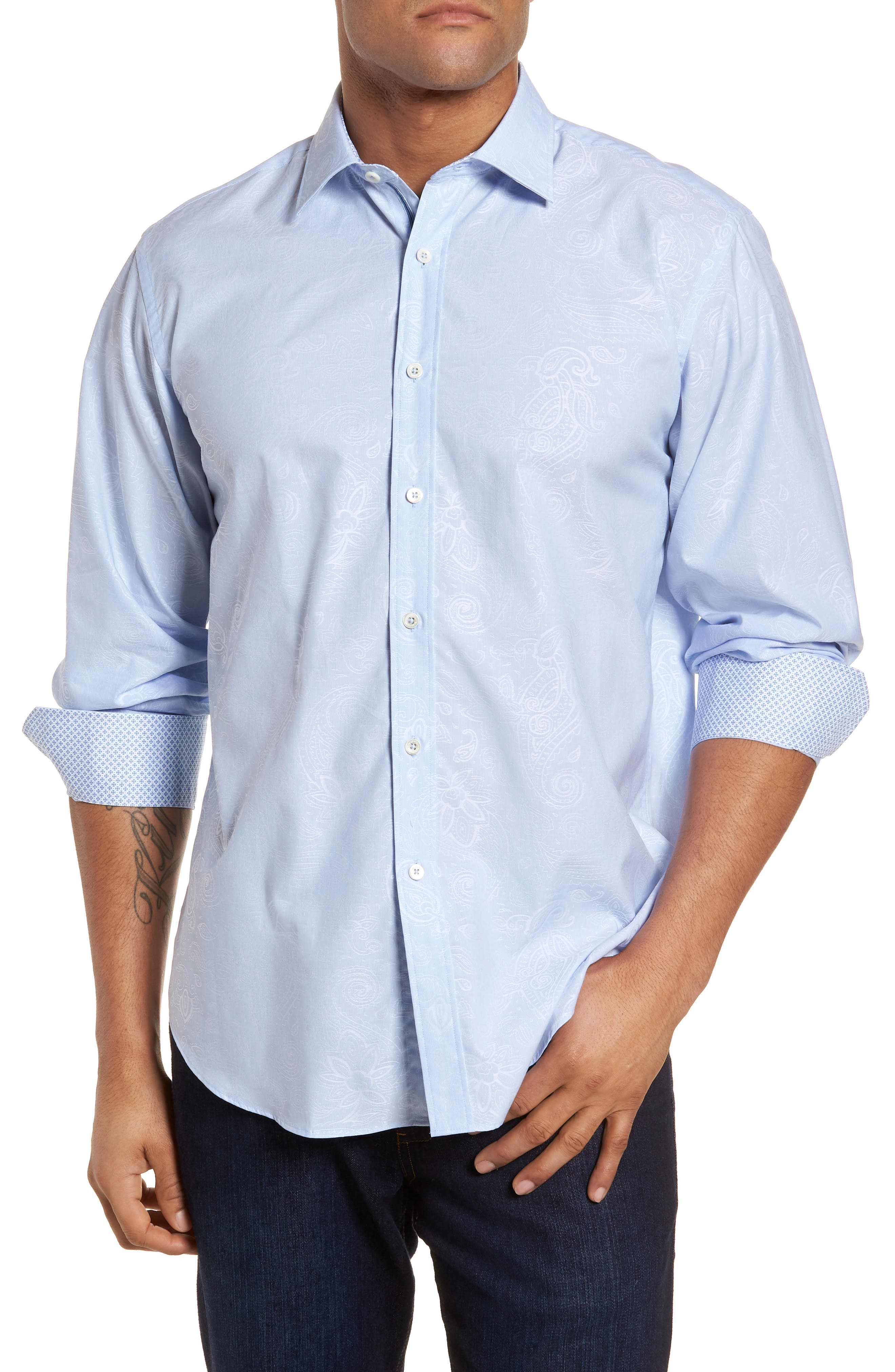Classic Fit Woven Sport Shirt,                             Main thumbnail 1, color,                             Dusty Blue