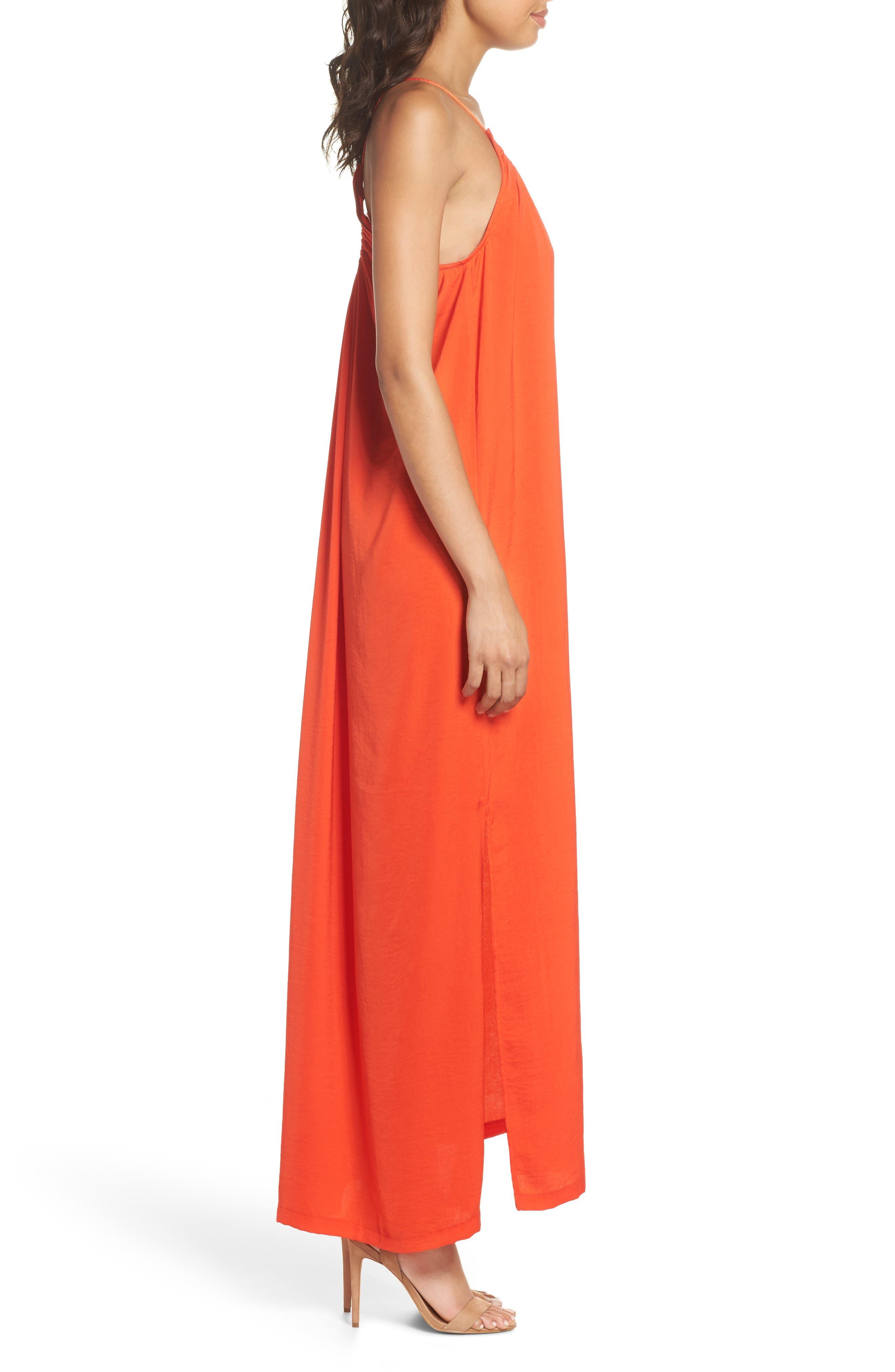 Yvonne Maxi Dress,                             Alternate thumbnail 3, color,                             Blood Orange