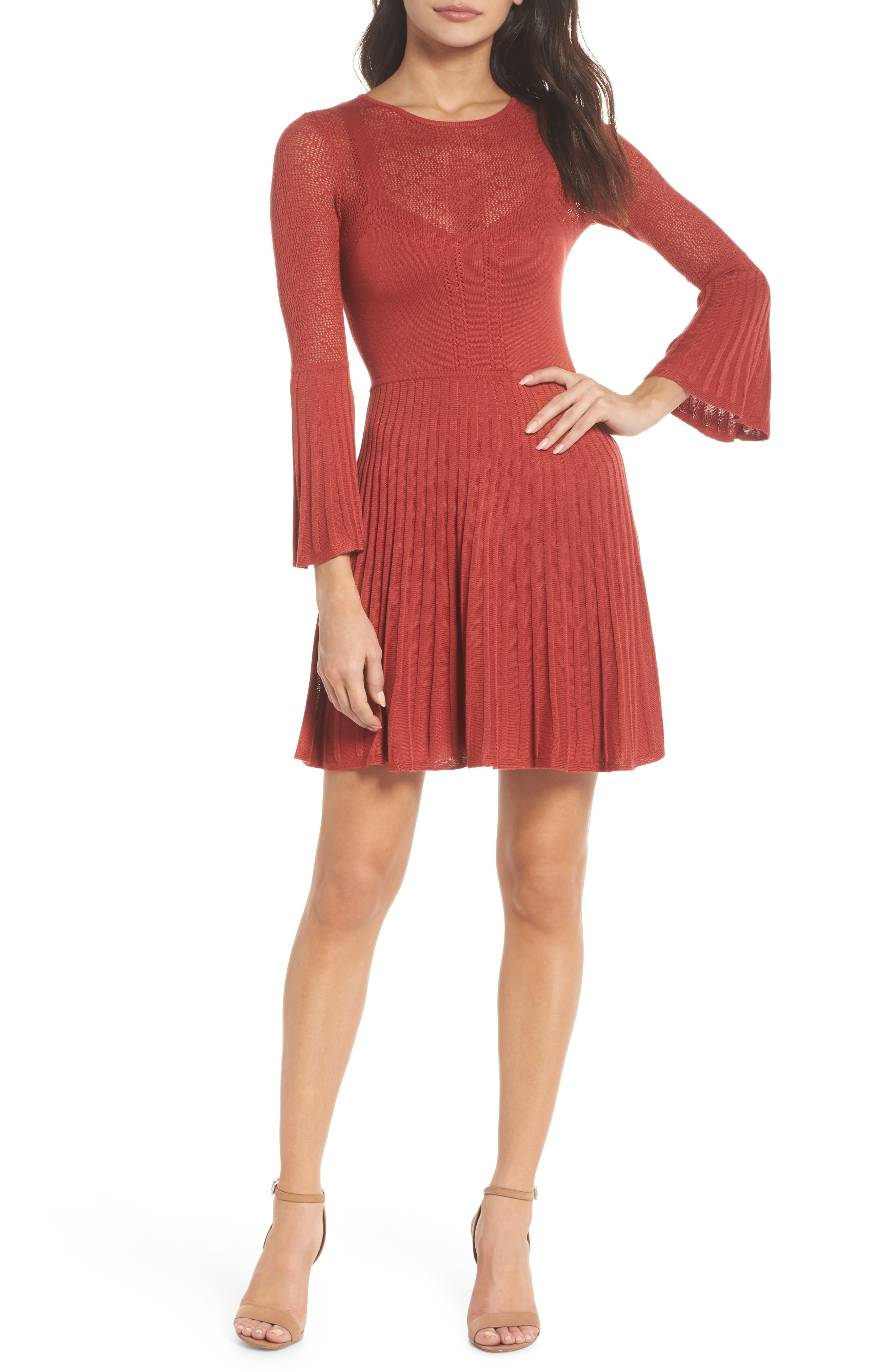 Private Concert Sweater Dress,                         Main,                         color, Rust