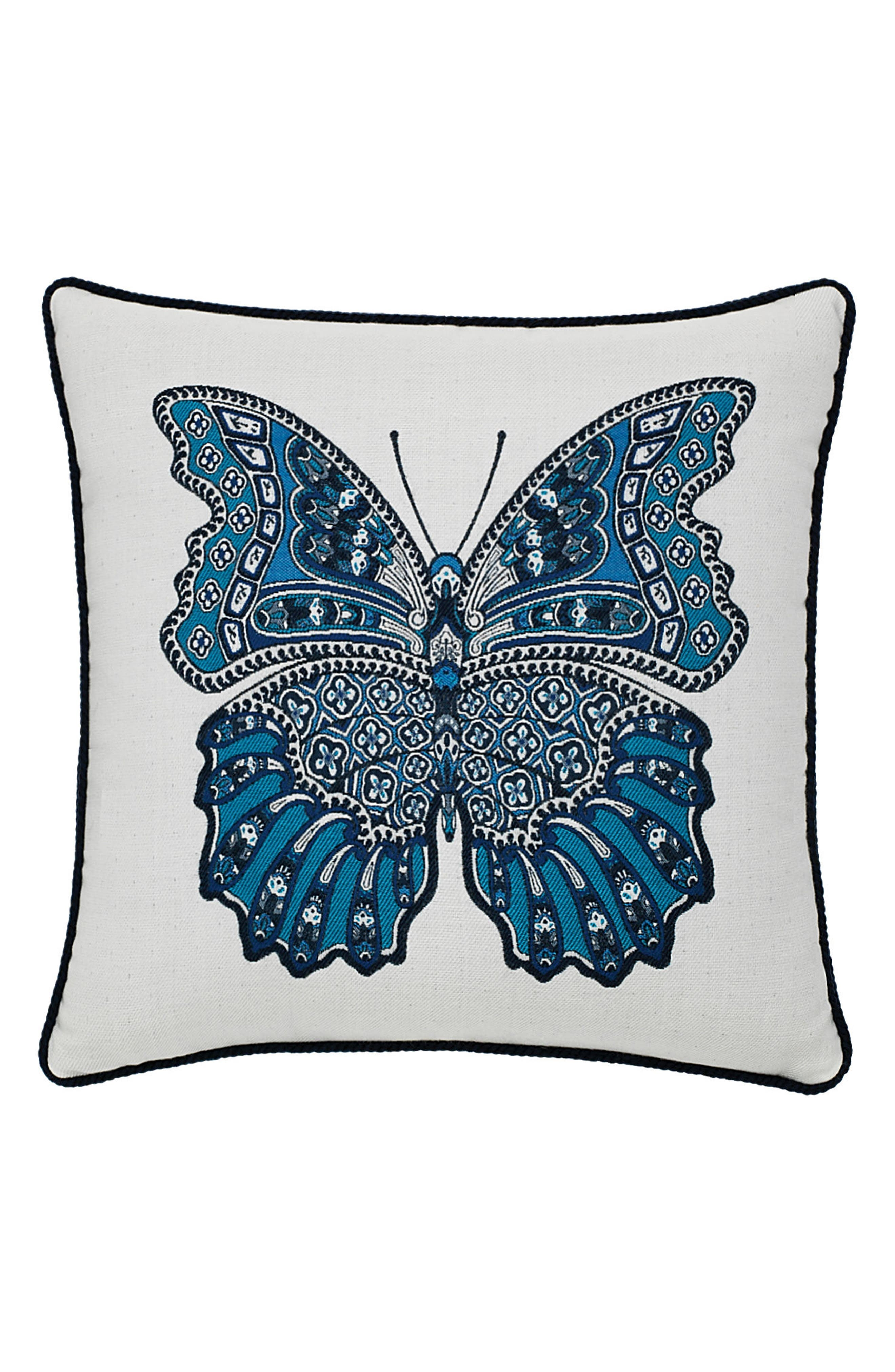 Mariposa Azure Indoor/Outdoor Accent Pillow,                         Main,                         color, Blue/ White