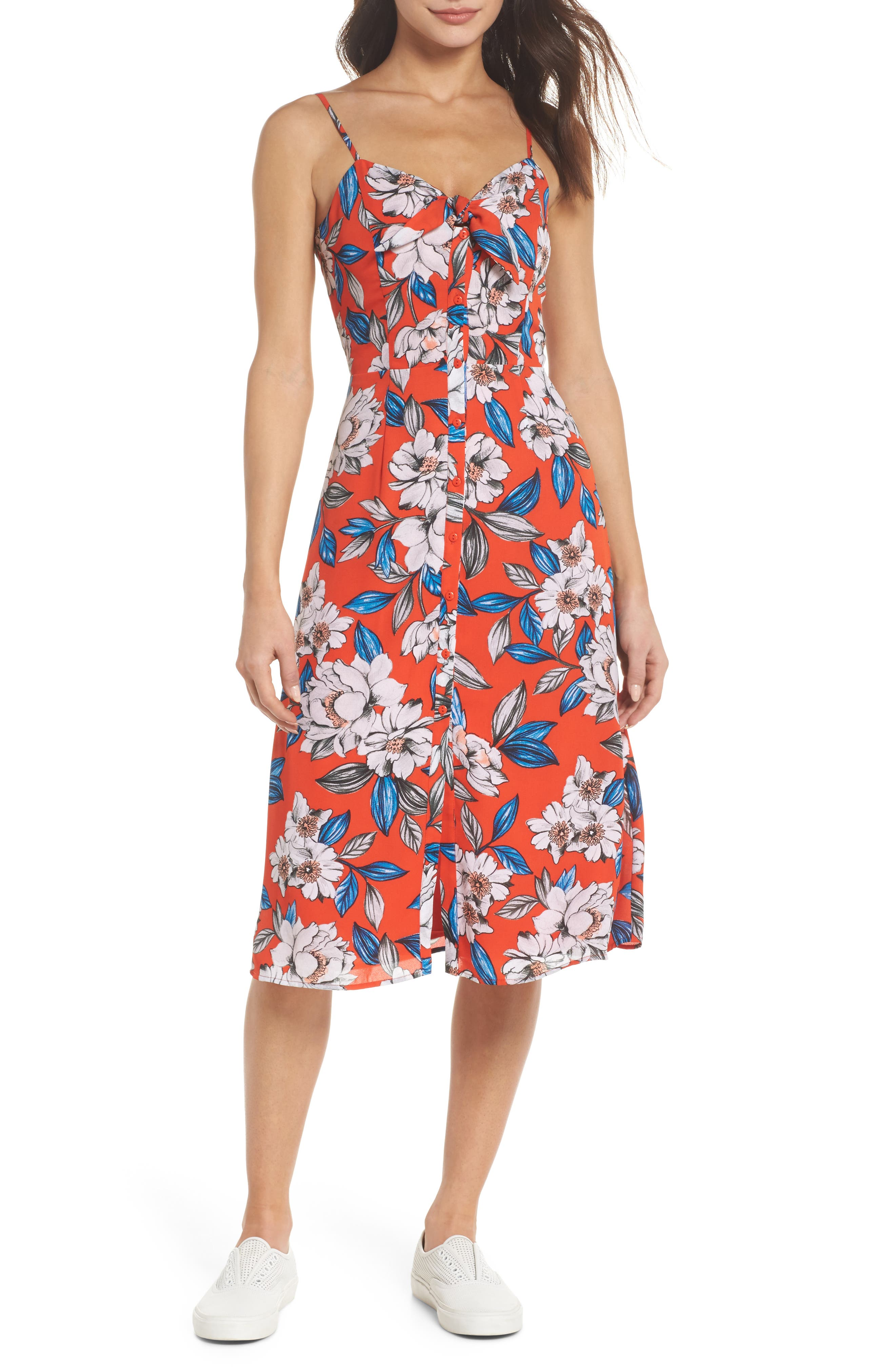 Hey Boy Button Front Midi Dress,                             Main thumbnail 1, color,                             Poppy Blooms