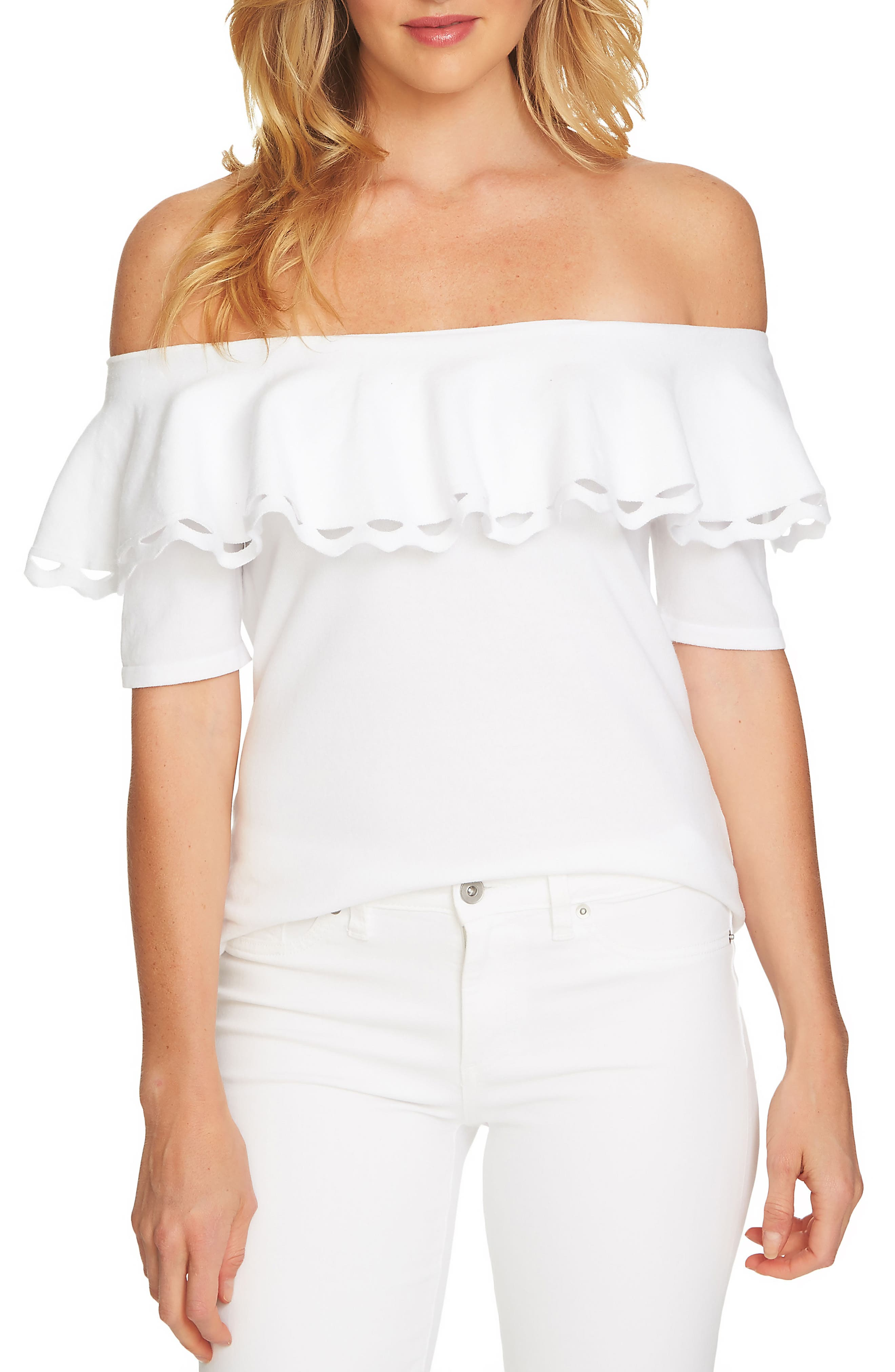 Off the Shoulder Ruffle Sweater,                             Main thumbnail 1, color,                             Ultra White
