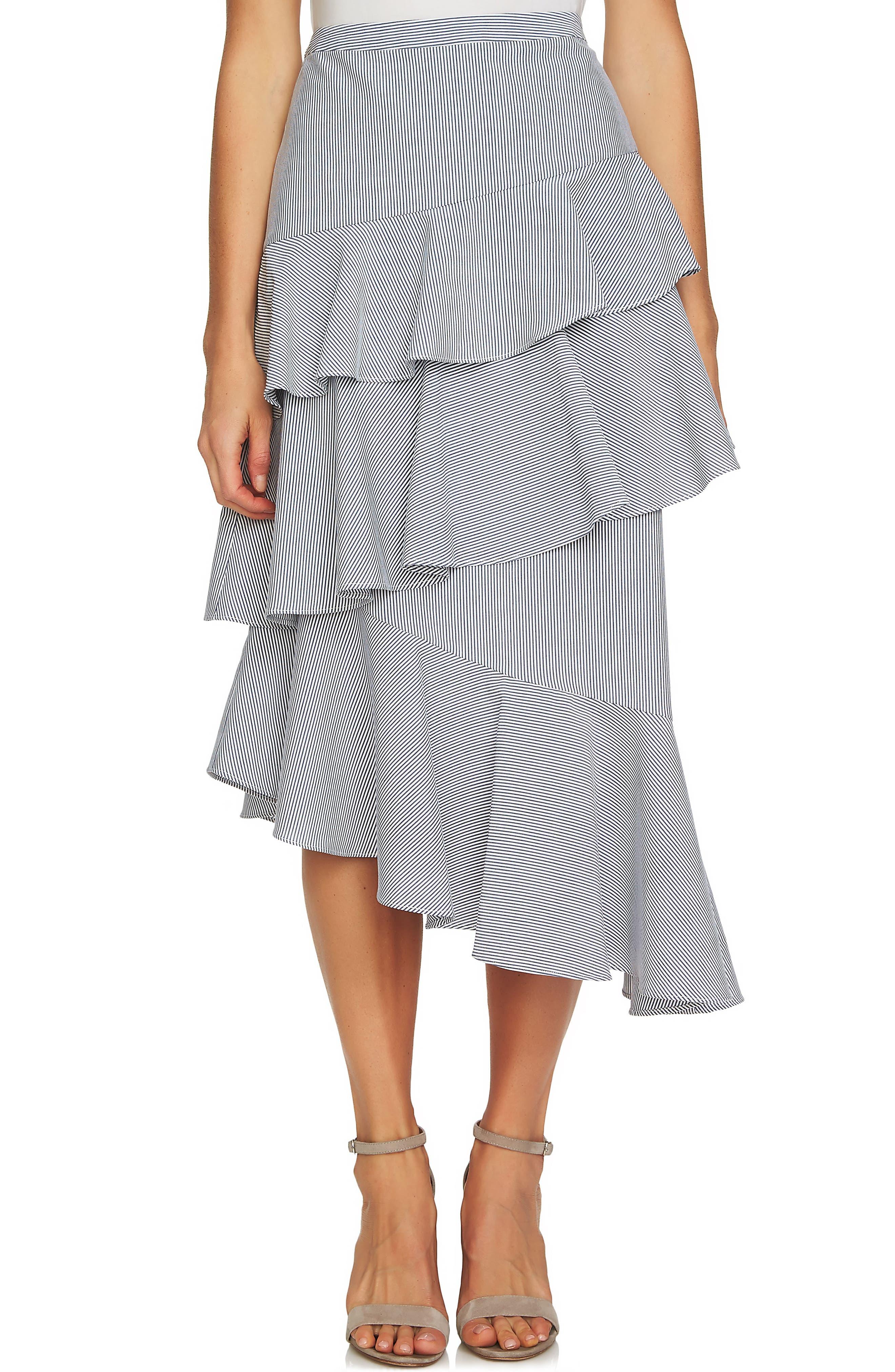 CeCe Tiered Seersucker Asymmetrical Skirt