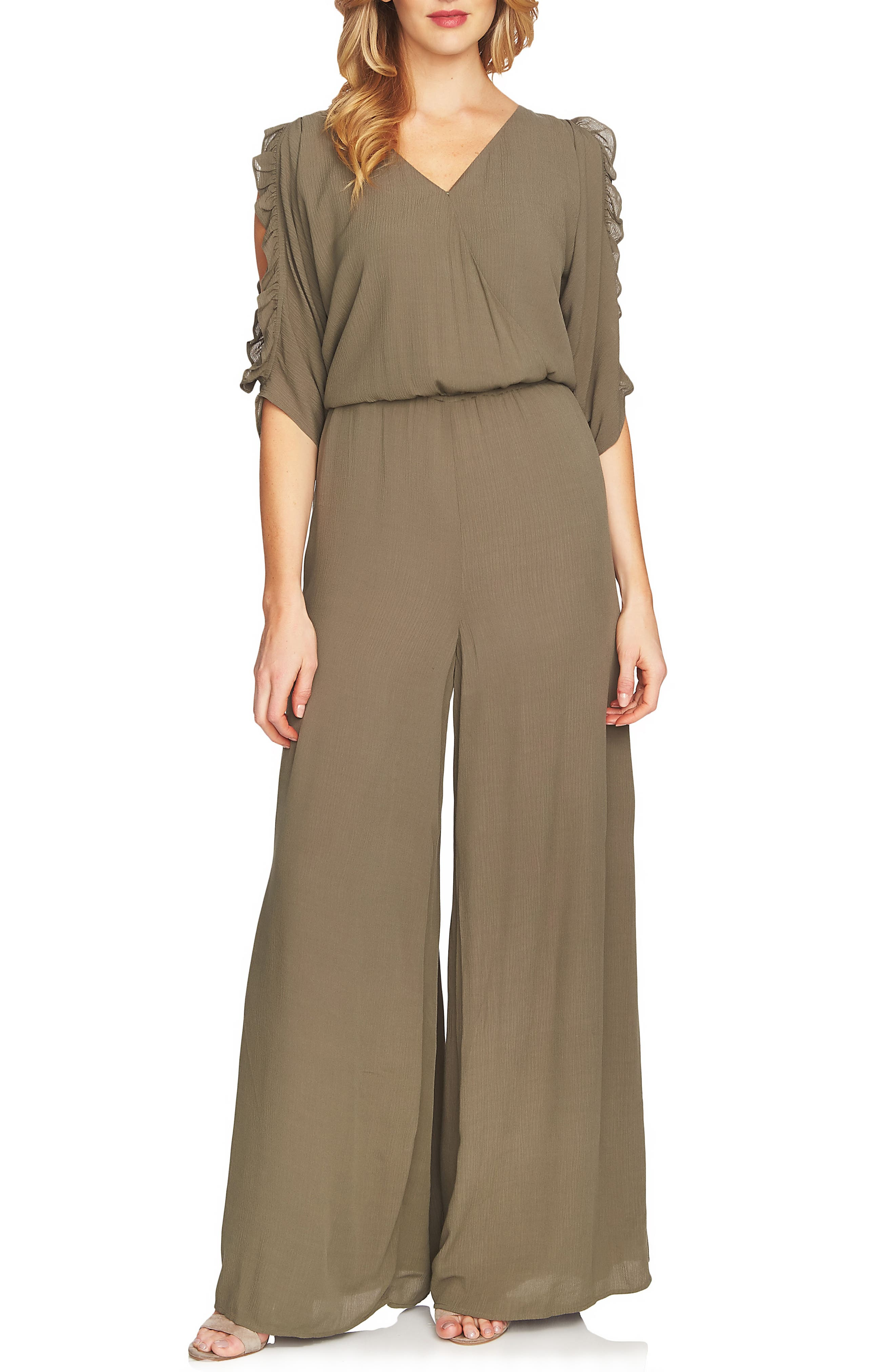 Ruffle Sleeve Wide Leg Jumpsuit,                         Main,                         color, Dusty Olive