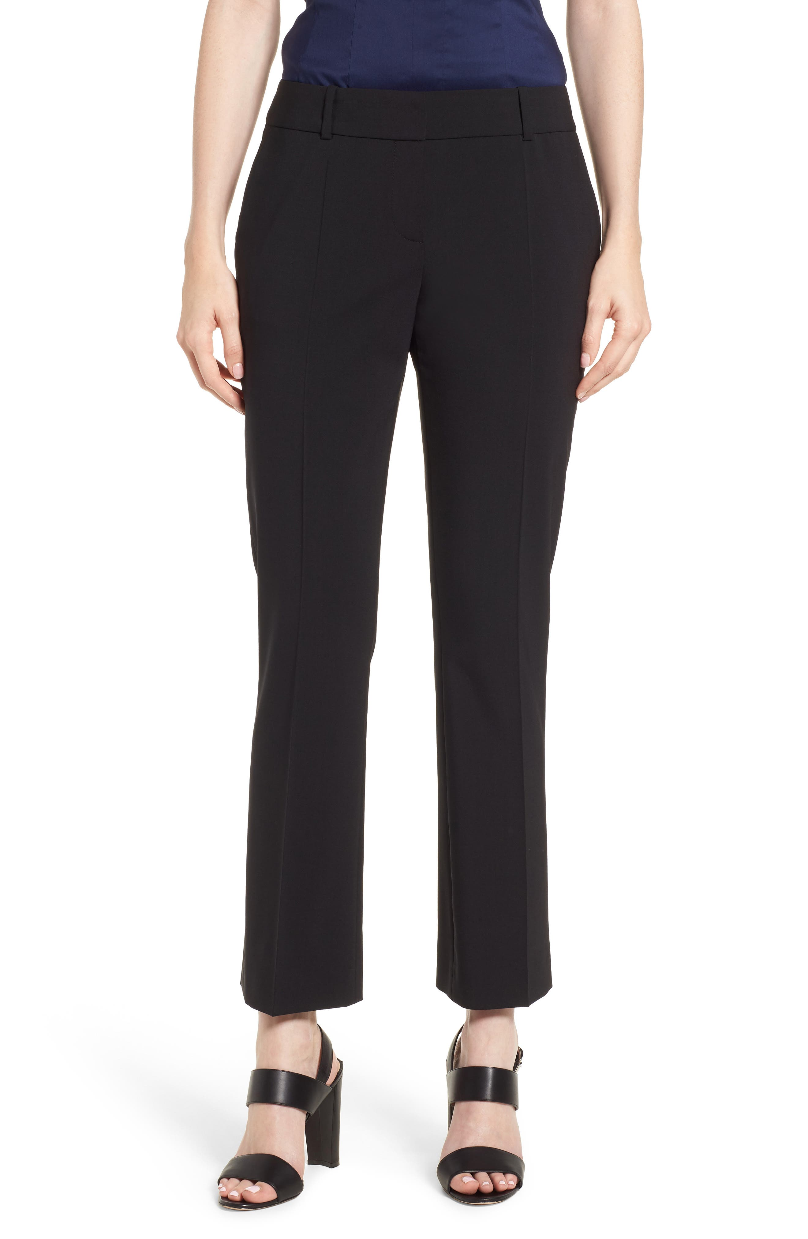 Talenara Tropical Stretch Wool Ankle Trousers,                             Main thumbnail 1, color,                             Black