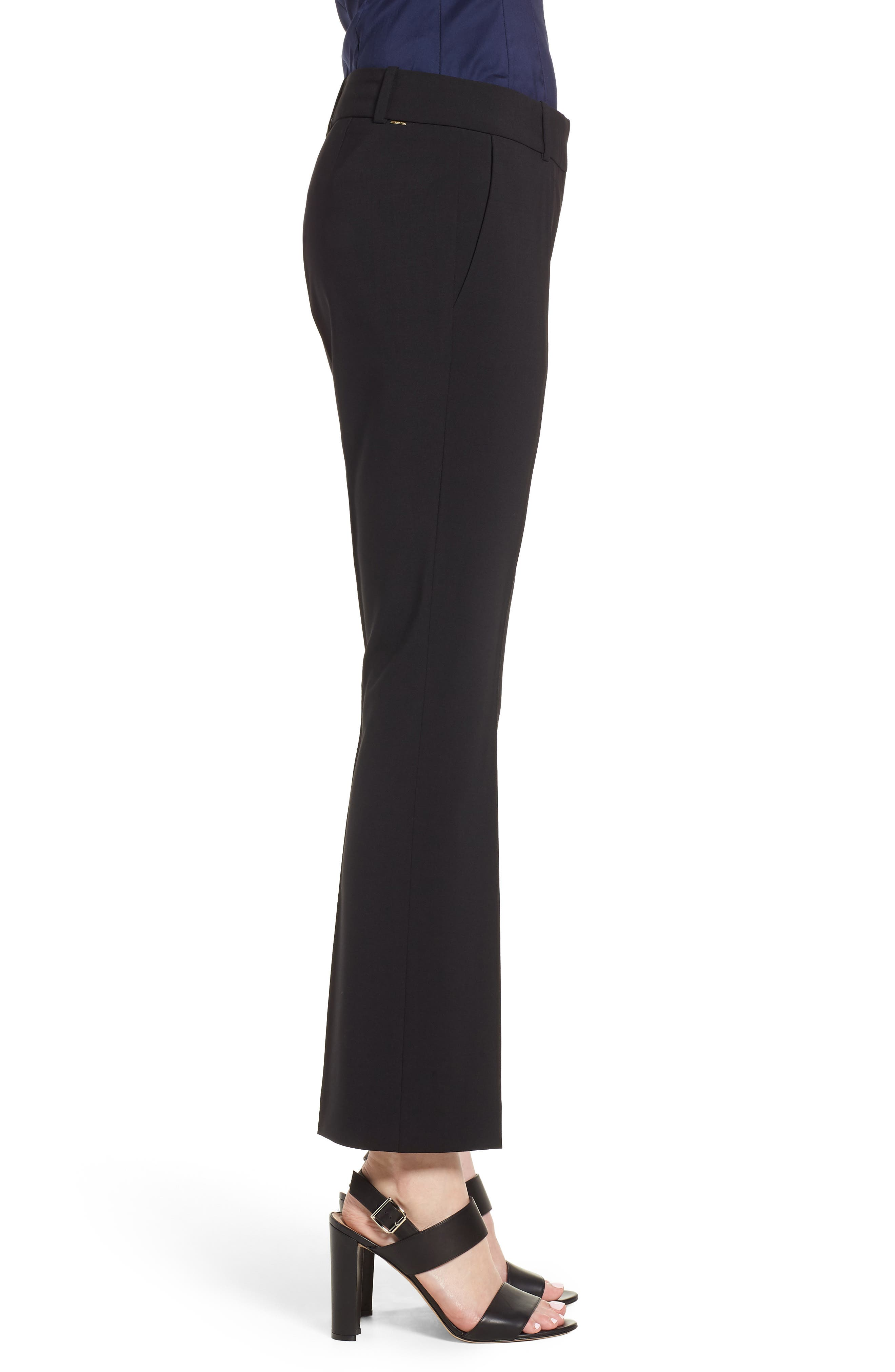 Talenara Tropical Stretch Wool Ankle Trousers,                             Alternate thumbnail 3, color,                             Black
