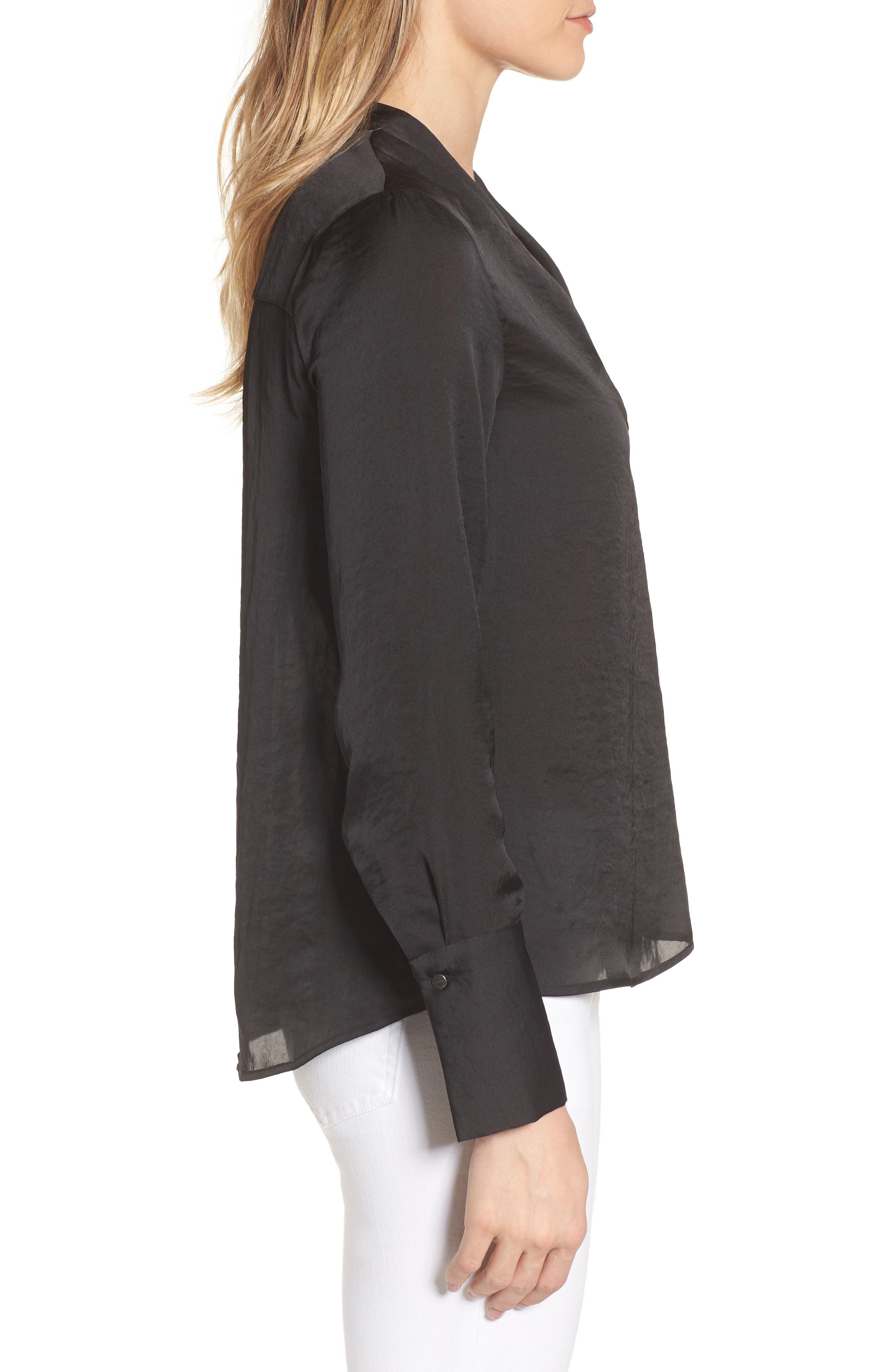 Crinkle Long Sleeve Blouse,                             Alternate thumbnail 3, color,                             Black