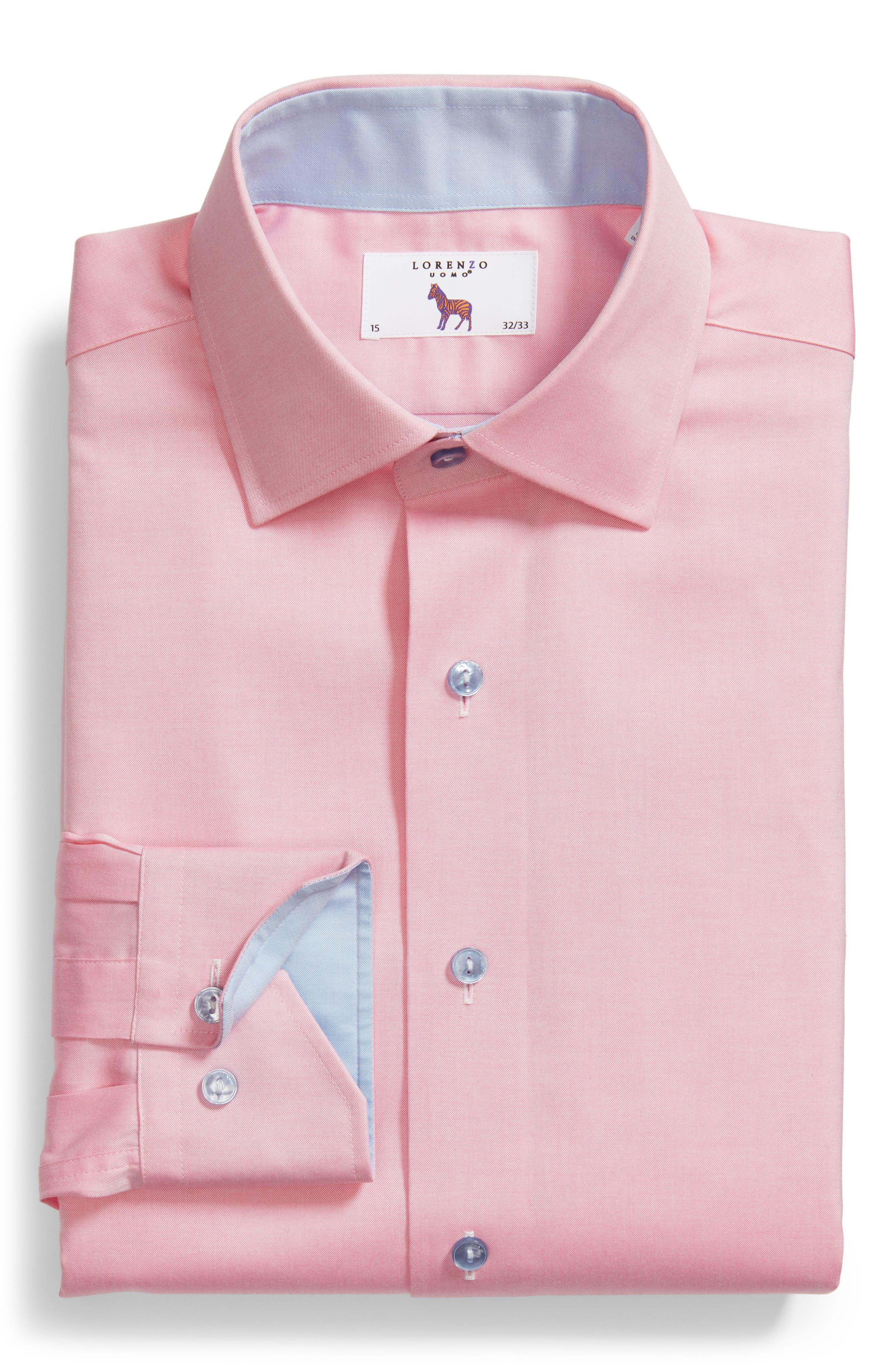 Trim Fit Oxford Dress Shirt,                             Alternate thumbnail 6, color,                             Pink