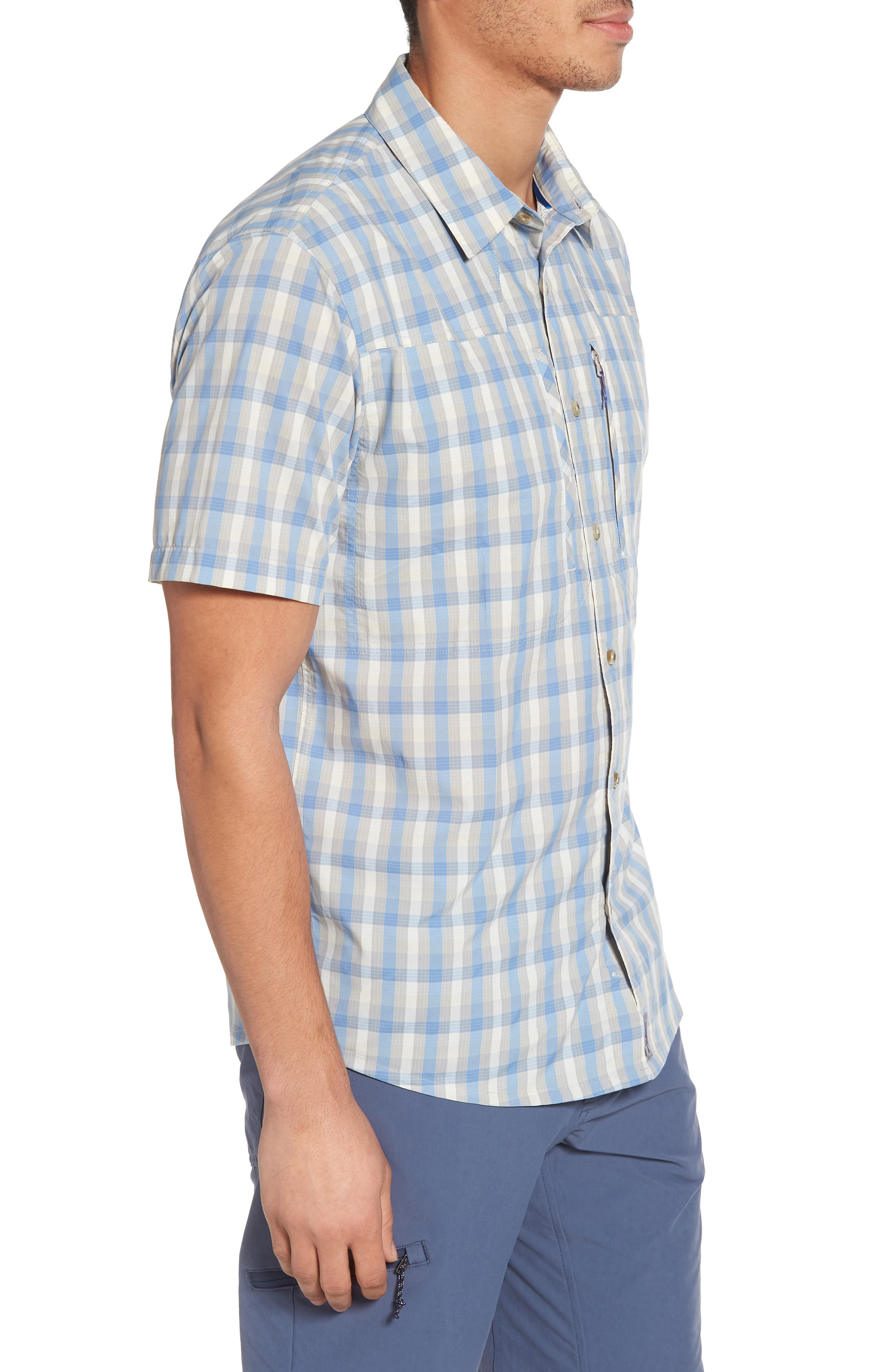 M's Sun Plaid Stretch Hybrid Shirt,                             Alternate thumbnail 3, color,                             Mauro Railroad Blue