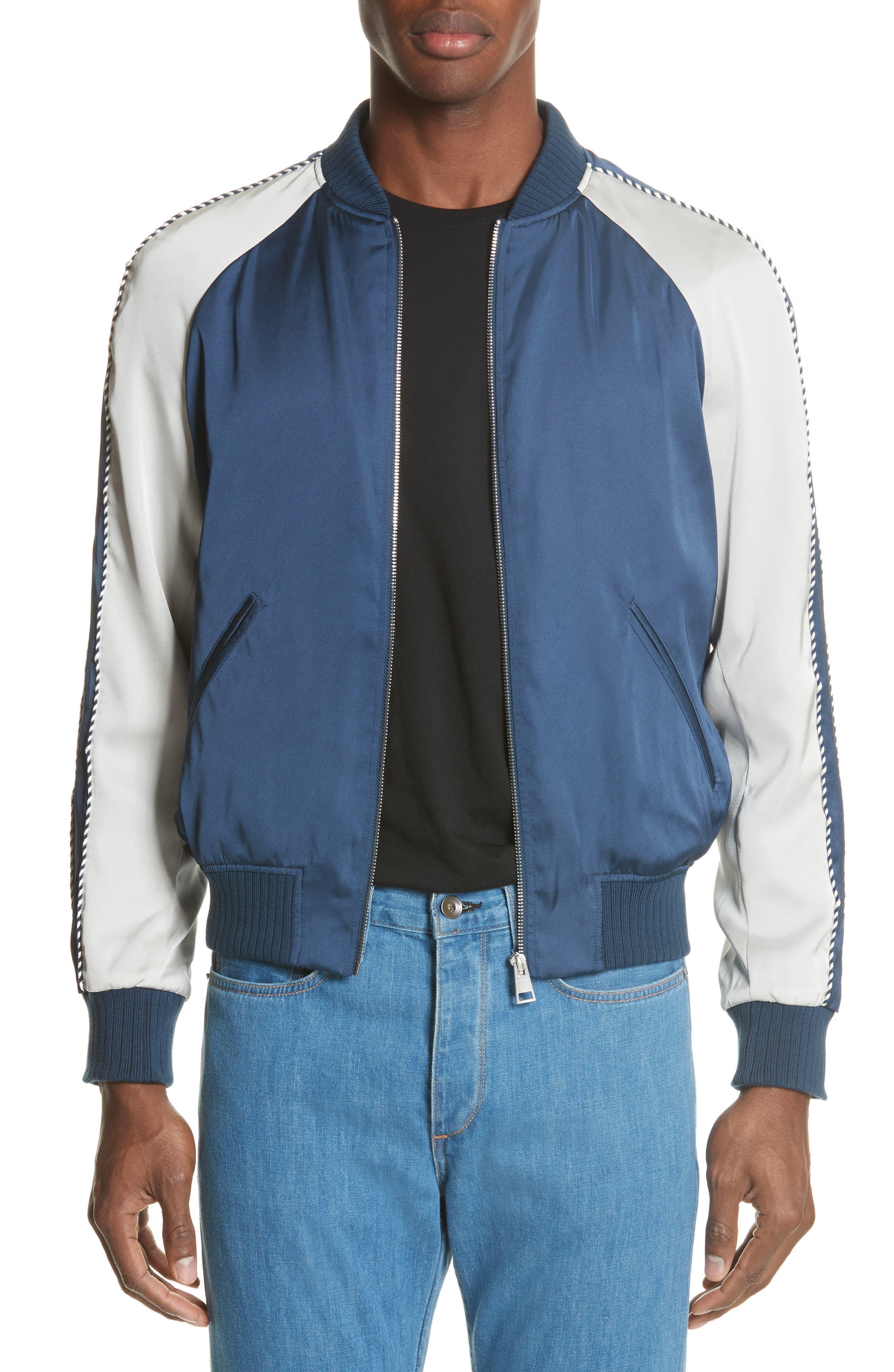 Satin Souvenir Bomber Jacket,                         Main,                         color, Blue