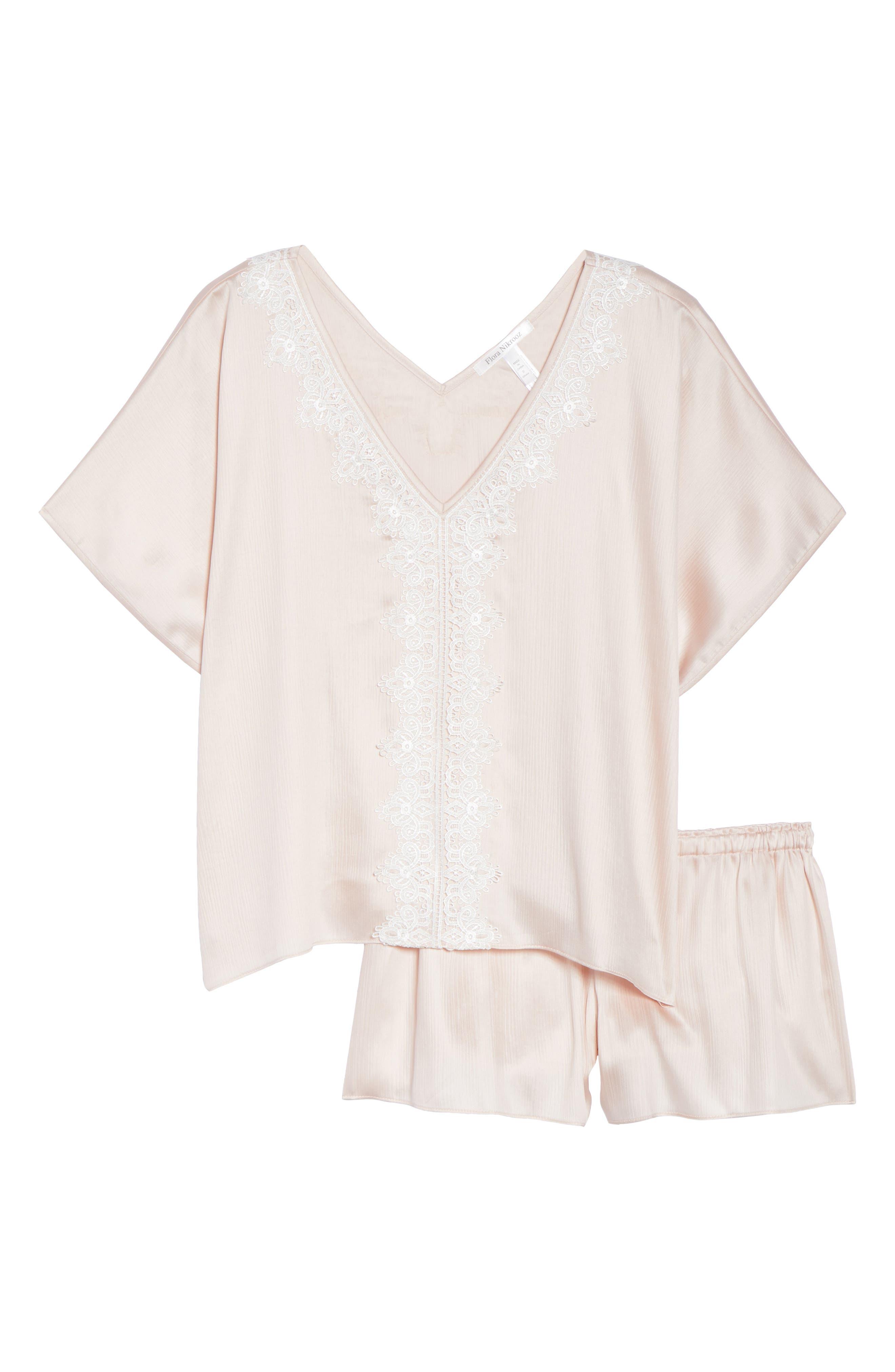 Mira Satin Short Pajamas,                             Alternate thumbnail 4, color,                             Buff