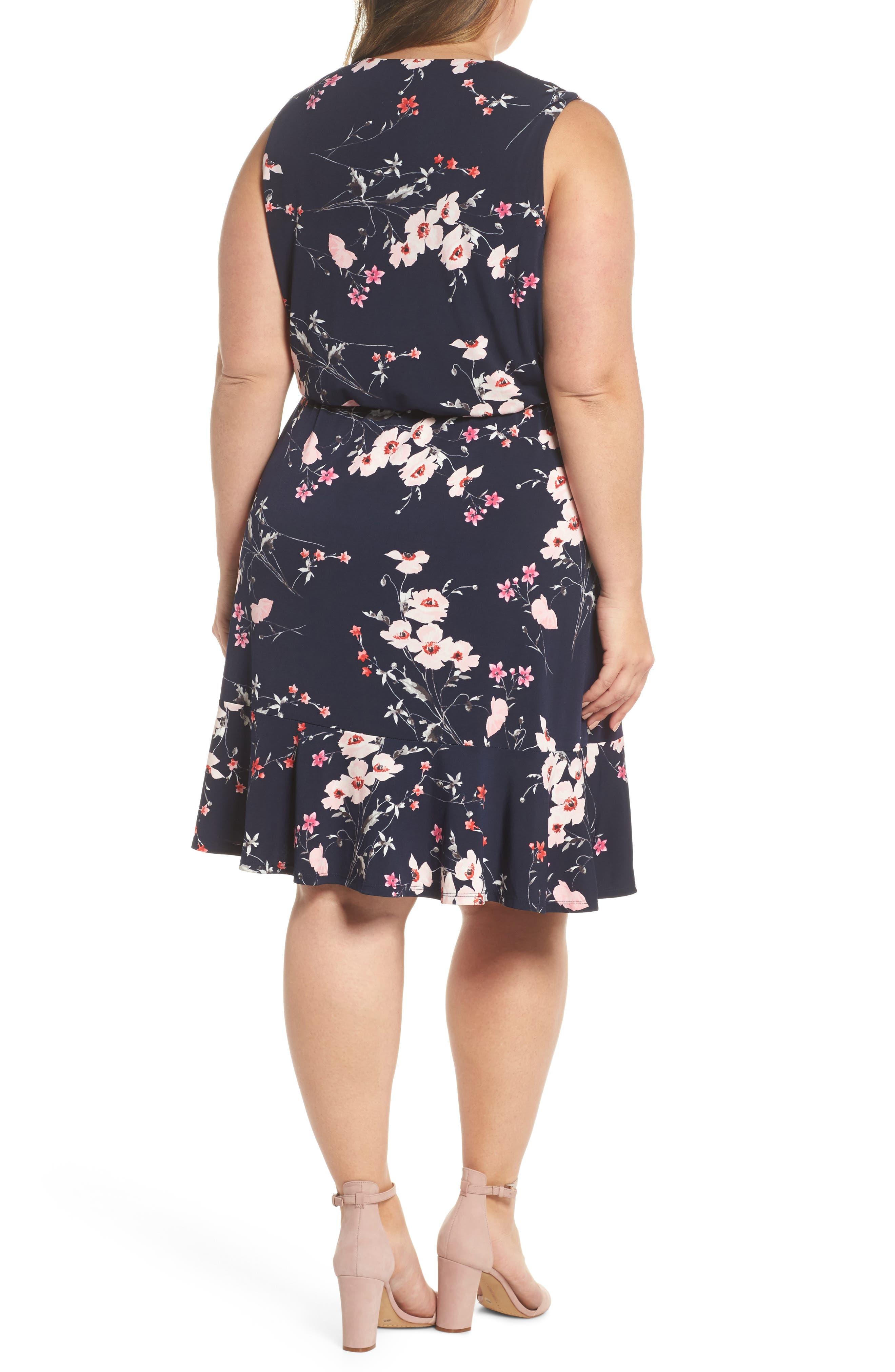 Floral Print Surplice Dress,                             Alternate thumbnail 2, color,                             Navy/ Pink