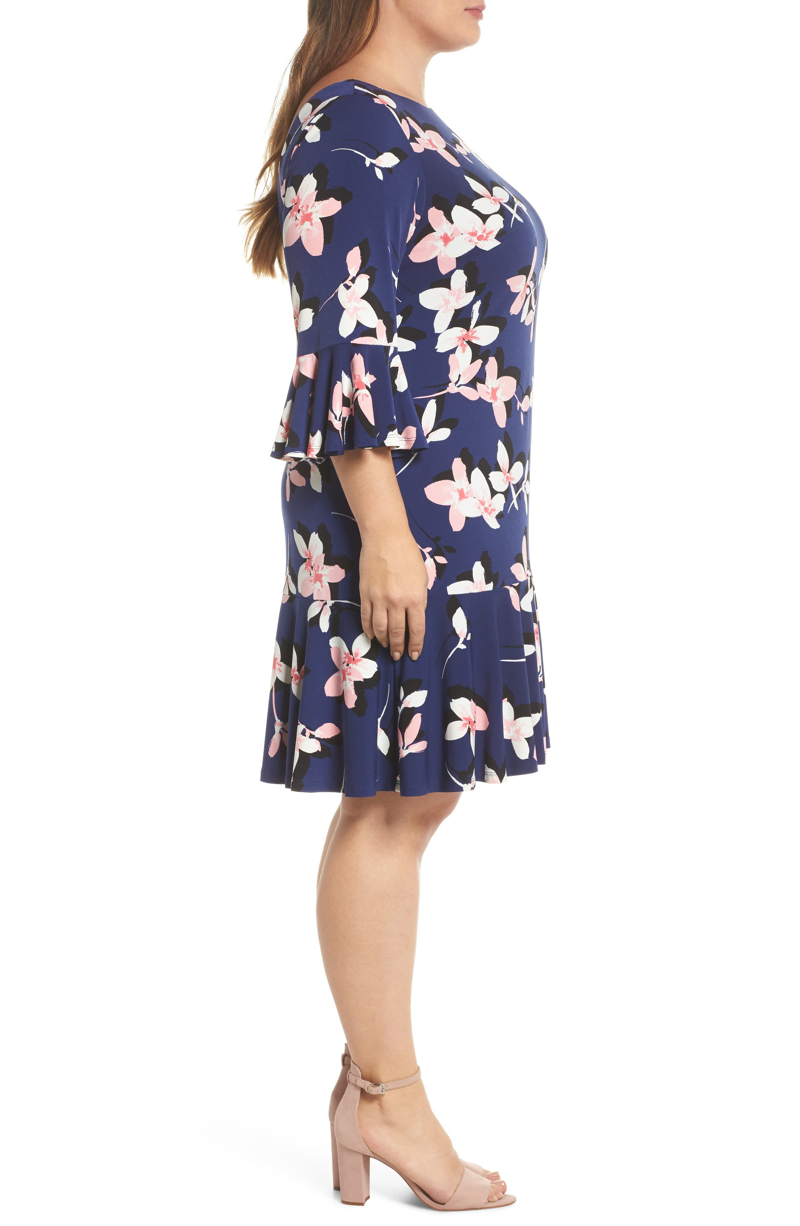 Floral Print Bell Sleeve Dress,                             Alternate thumbnail 3, color,                             Navy/ Pink