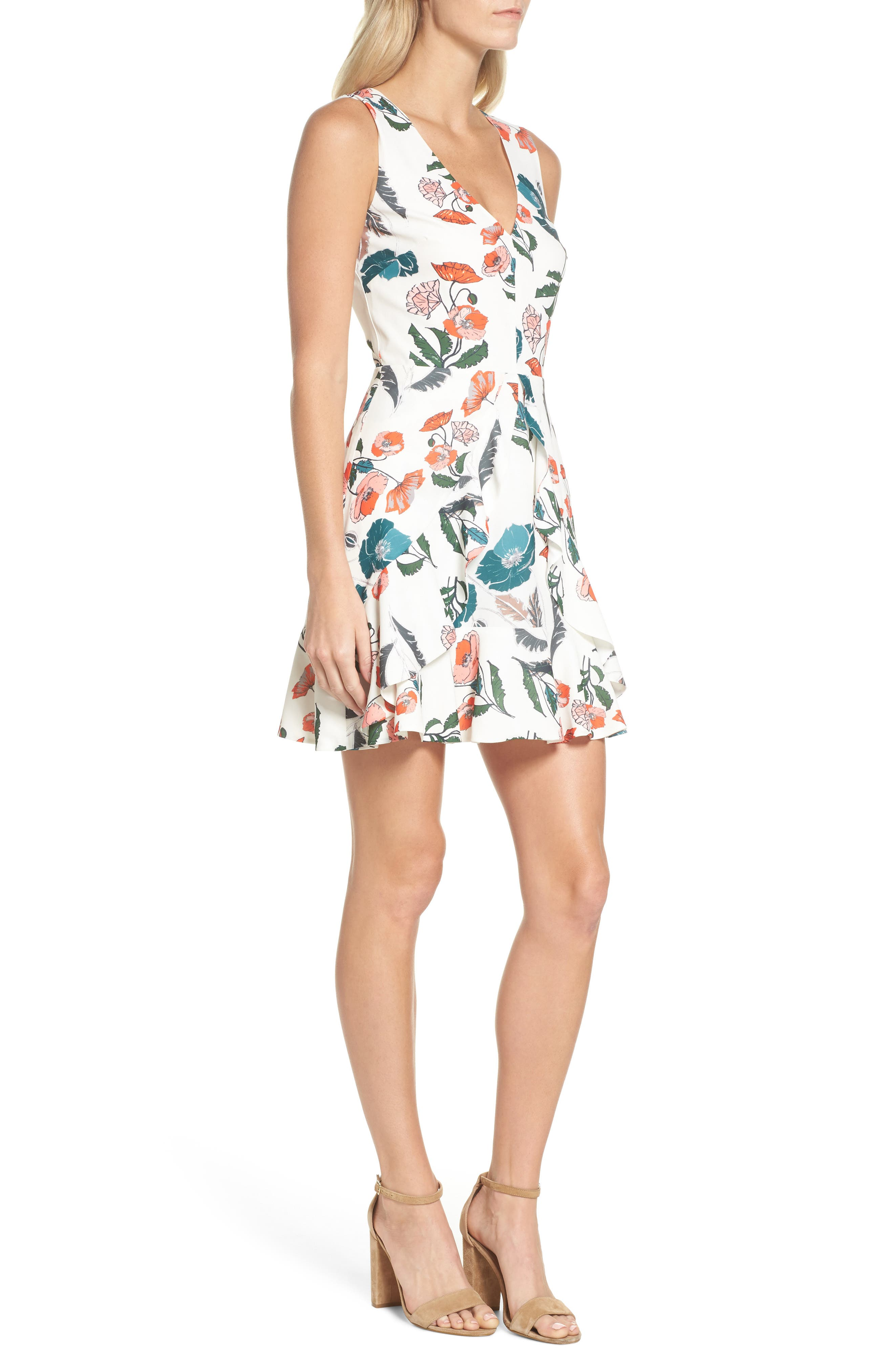 Eden Fit & Flare Dress,                             Alternate thumbnail 3, color,                             White/ Melon