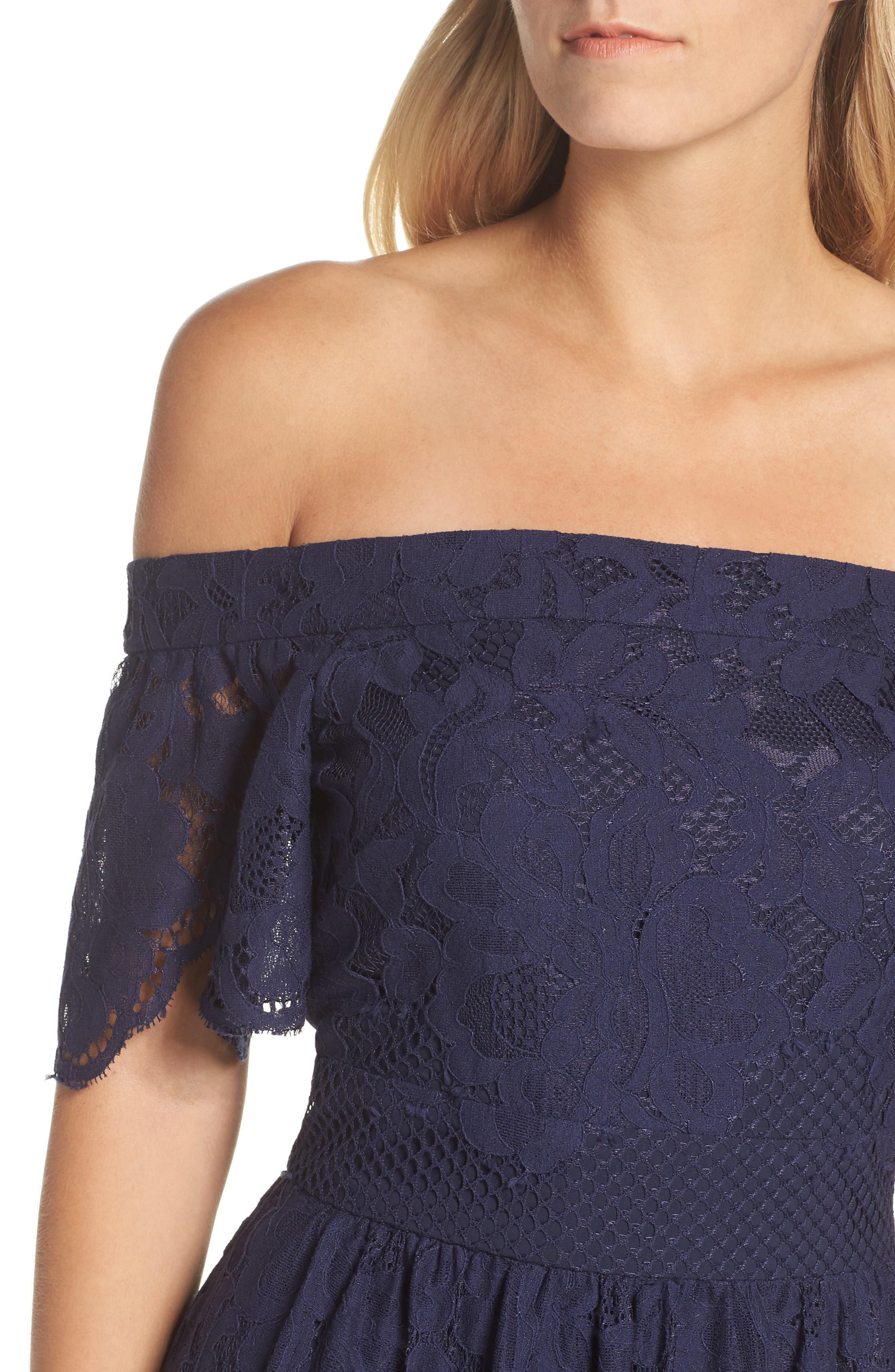 Off the Shoulder Lace Midi Dress,                             Alternate thumbnail 4, color,                             Navy