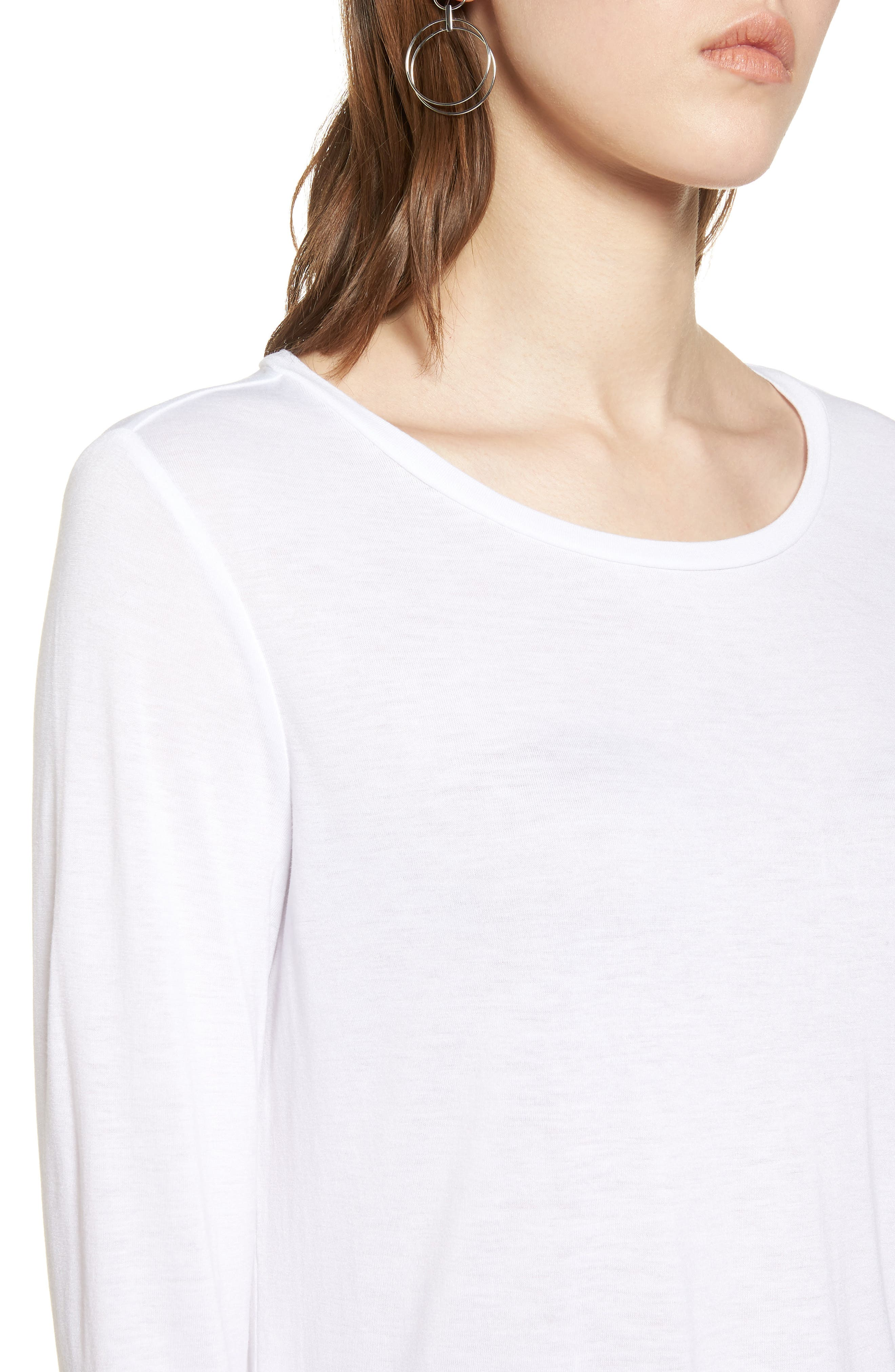 Shirttail Tee,                             Alternate thumbnail 4, color,                             Ivory Cloud