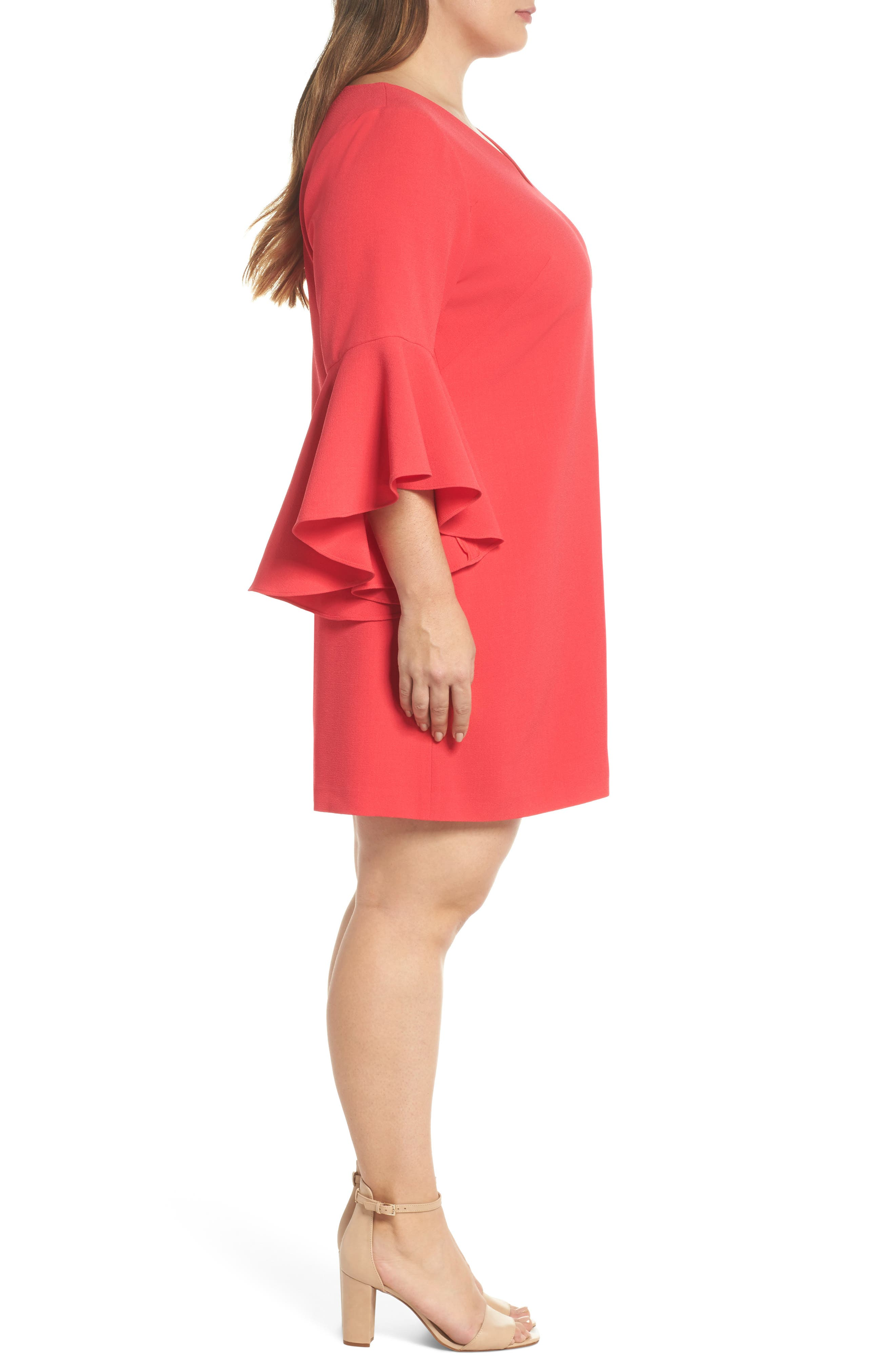 Bell Sleeve Crepe Shift Dress,                             Alternate thumbnail 4, color,                             Pink