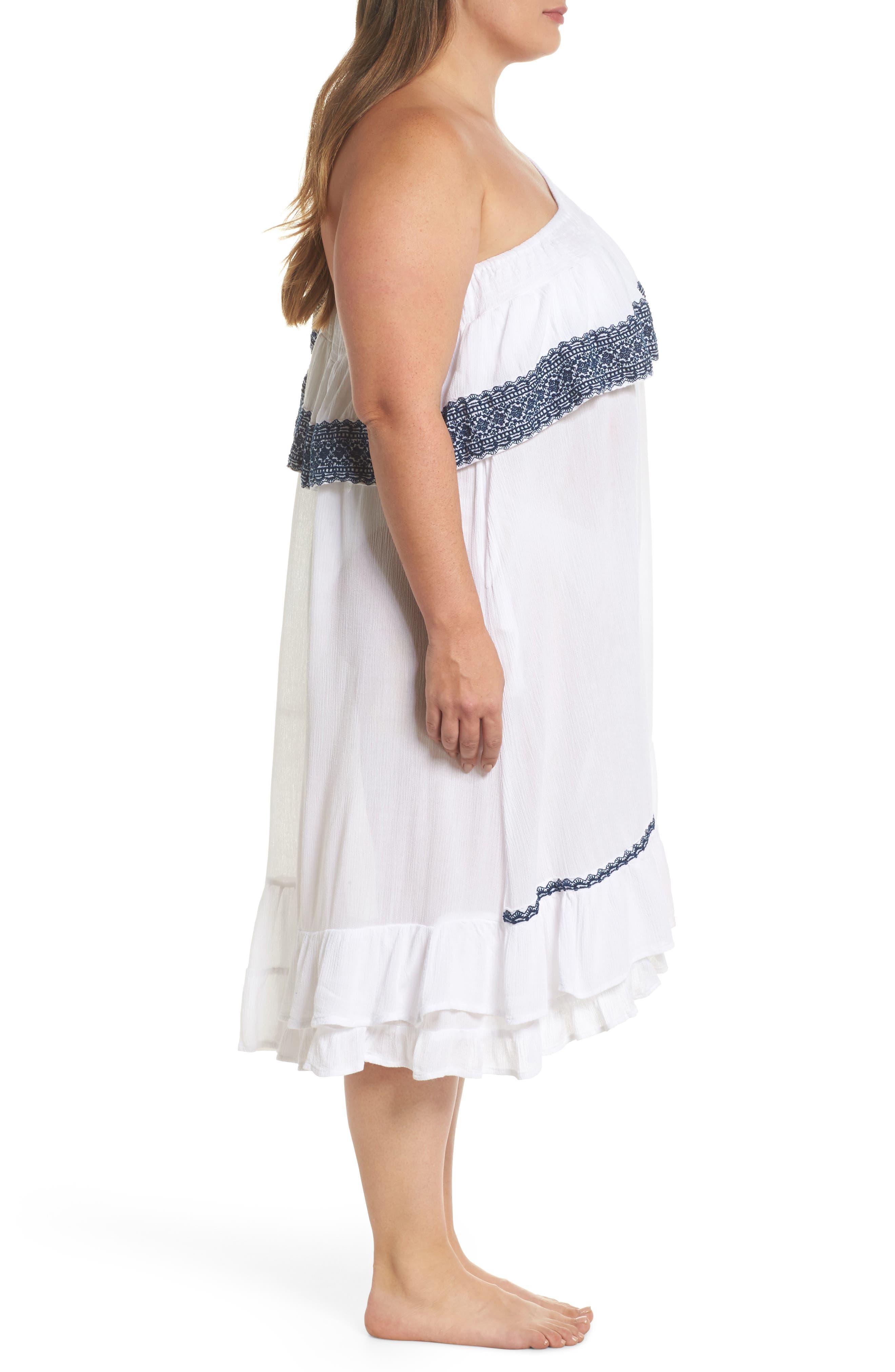 Gavin One-Shoulder Cover-Up Dress,                             Alternate thumbnail 3, color,                             White/ Navy