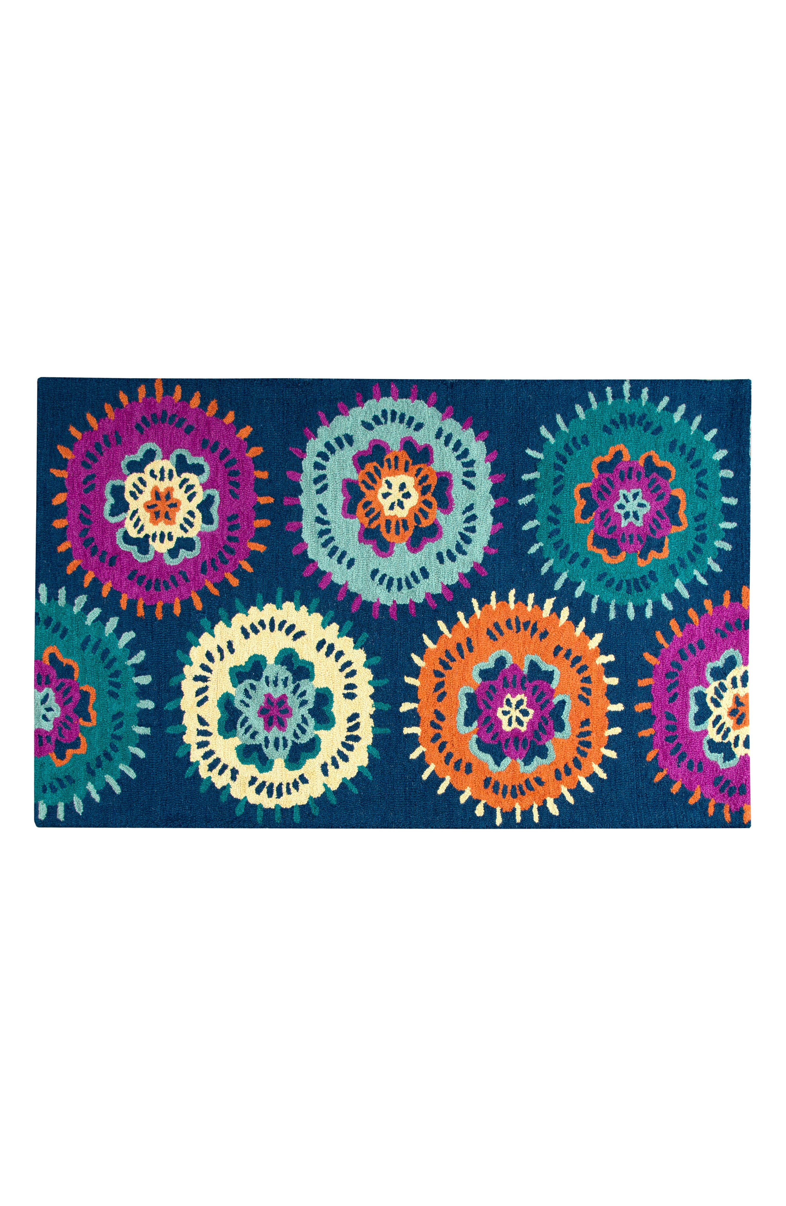 Play Day Flowery Rug,                             Main thumbnail 1, color,                             Navy