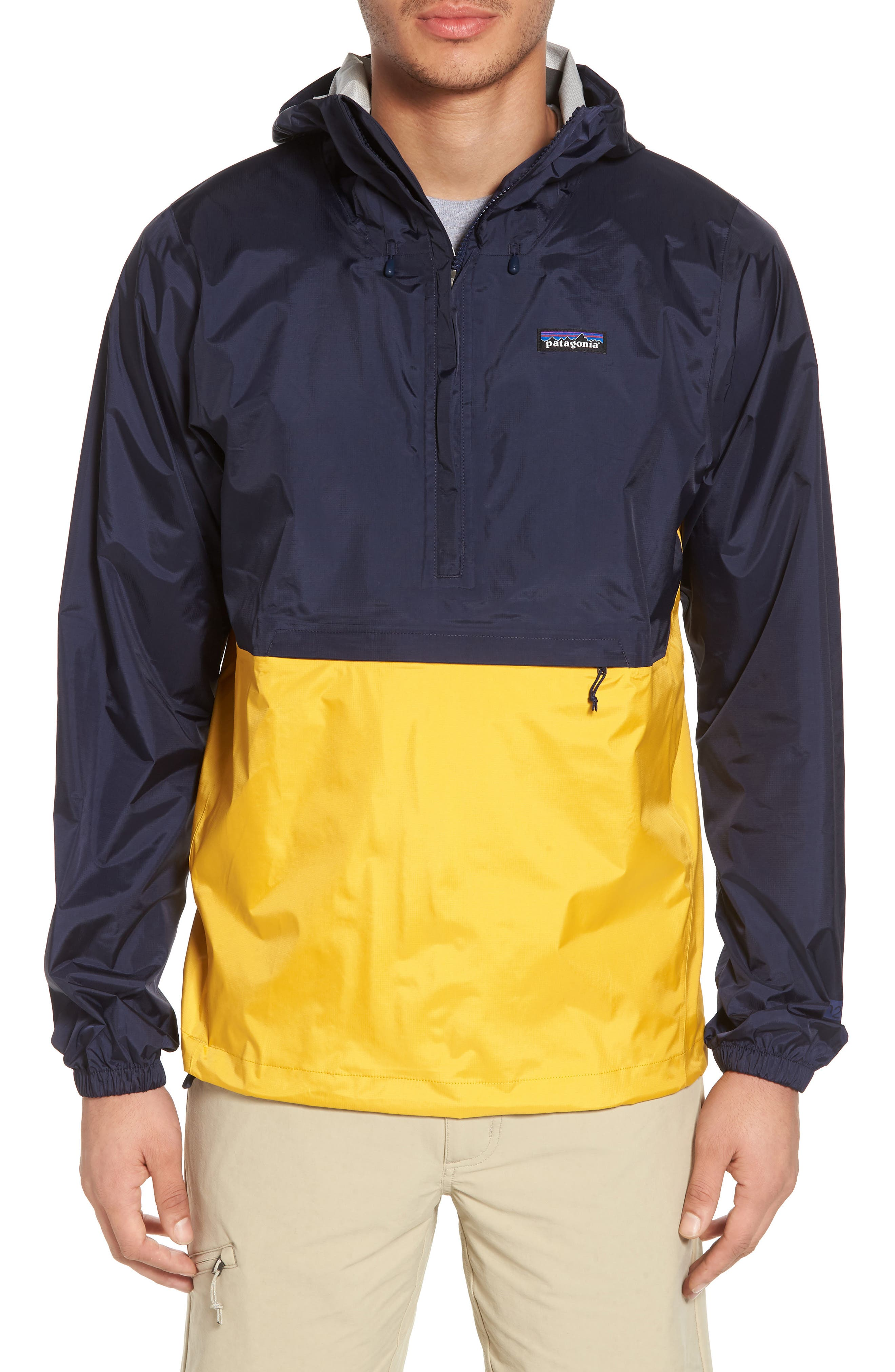 Torrentshell Packable Regular Fit Rain Jacket,                         Main,                         color, Navy Blue W/ Rugby Yellow