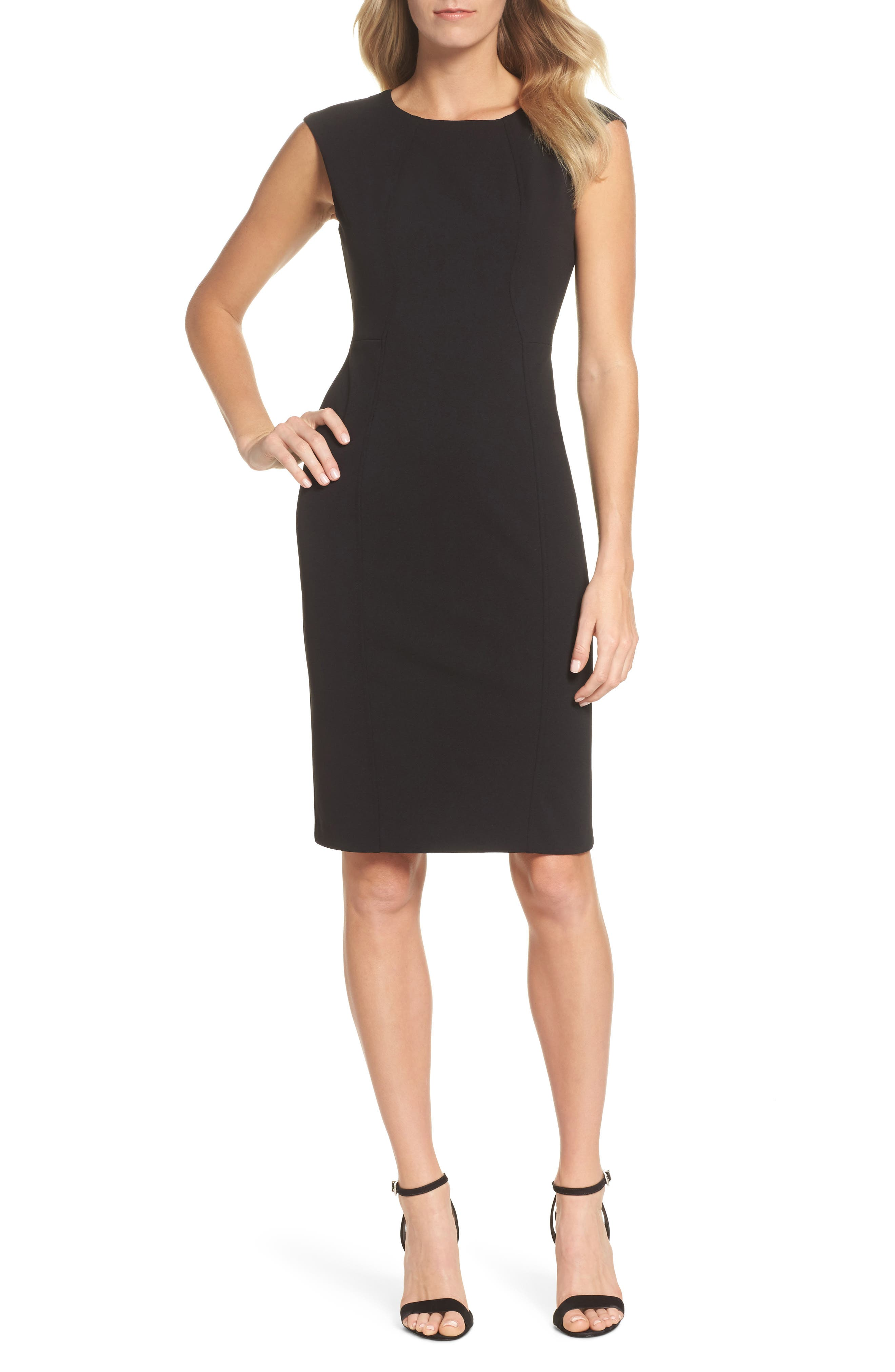 Scuba Crepe Sheath Dress,                             Main thumbnail 1, color,                             Black