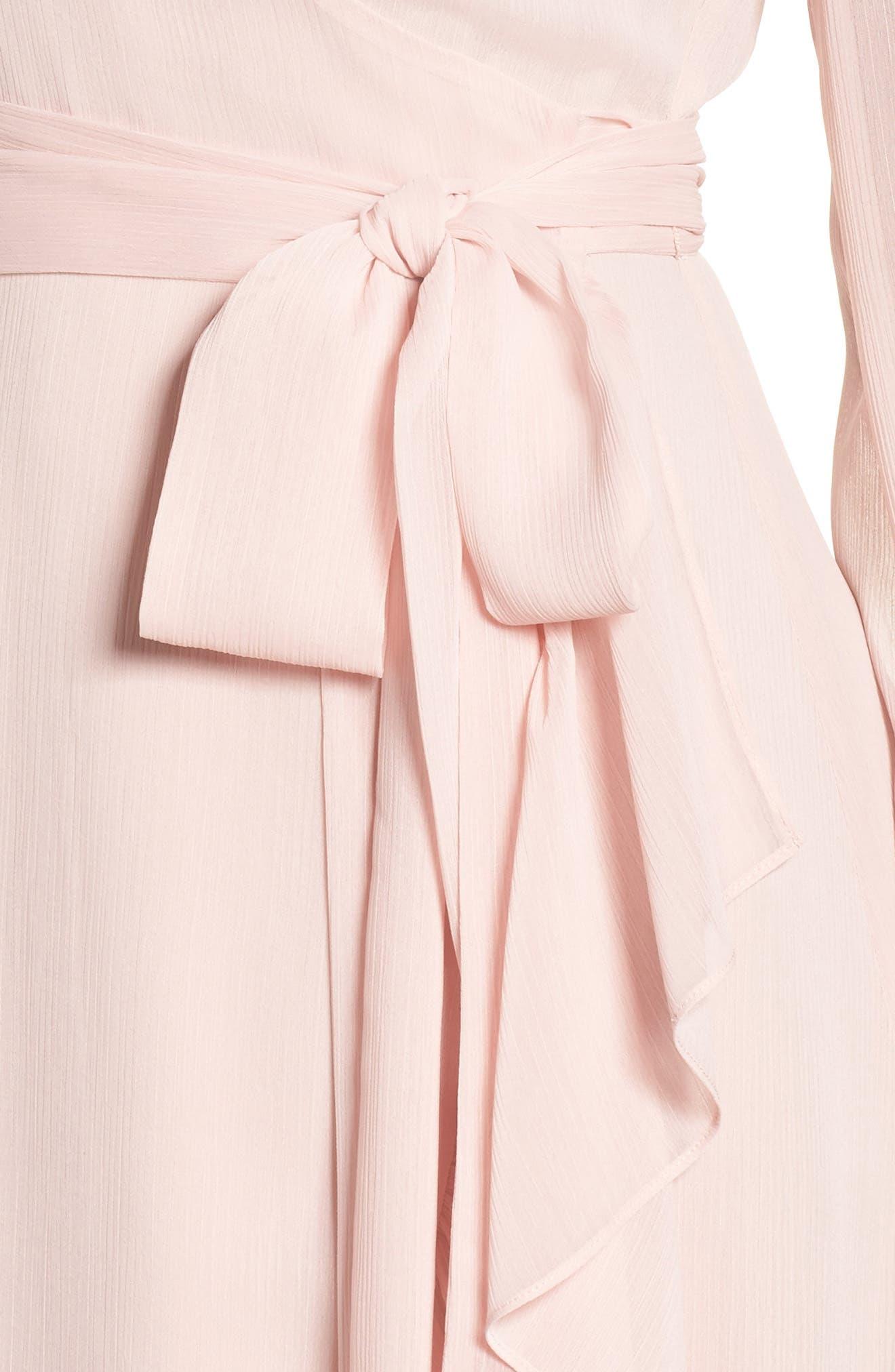 Meryl Long Sleeve Wrap Maxi Dress,                             Alternate thumbnail 4, color,                             Ballet Pink