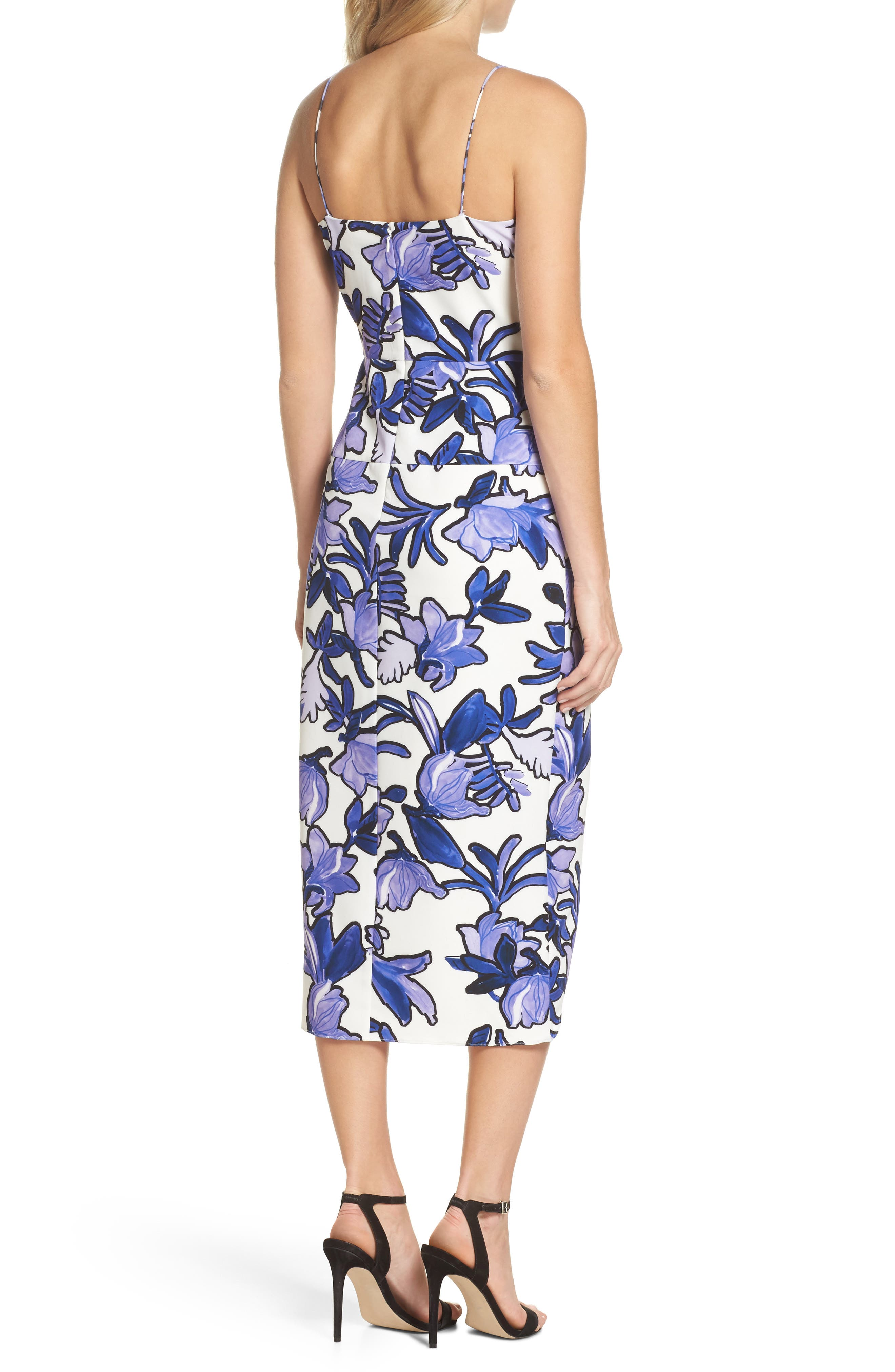 Floral Midi Dress,                             Alternate thumbnail 2, color,                             Ivory Painted Iris Floral