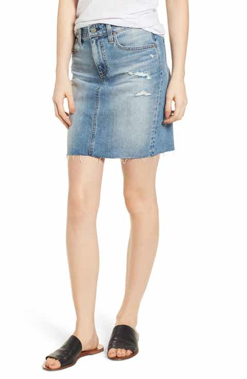 AG The Erin Distressed Denim Miniskirt (Indigo Deluge Destructed)
