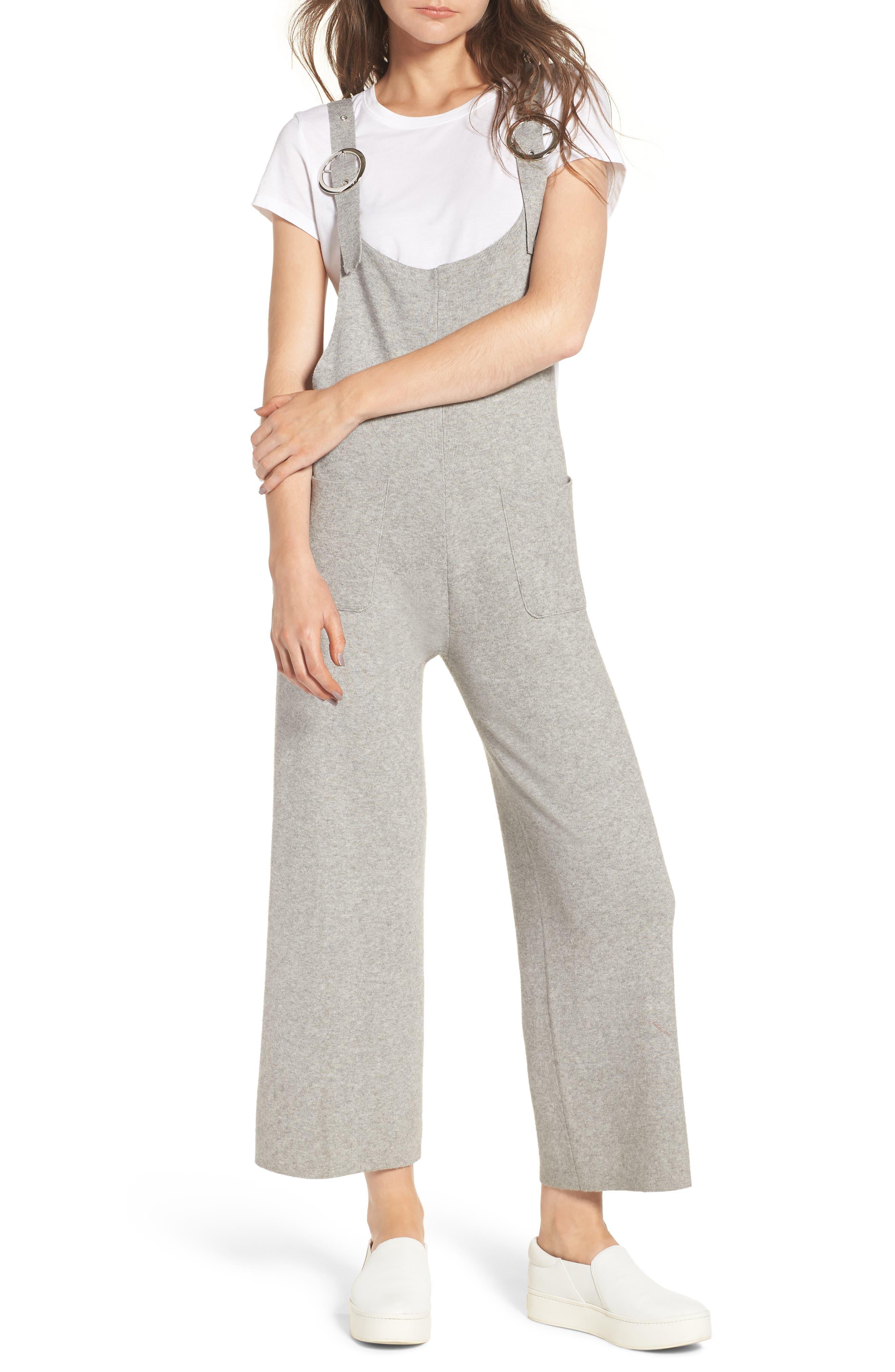 Crop Knit Jumpsuit,                         Main,                         color, Light Grey