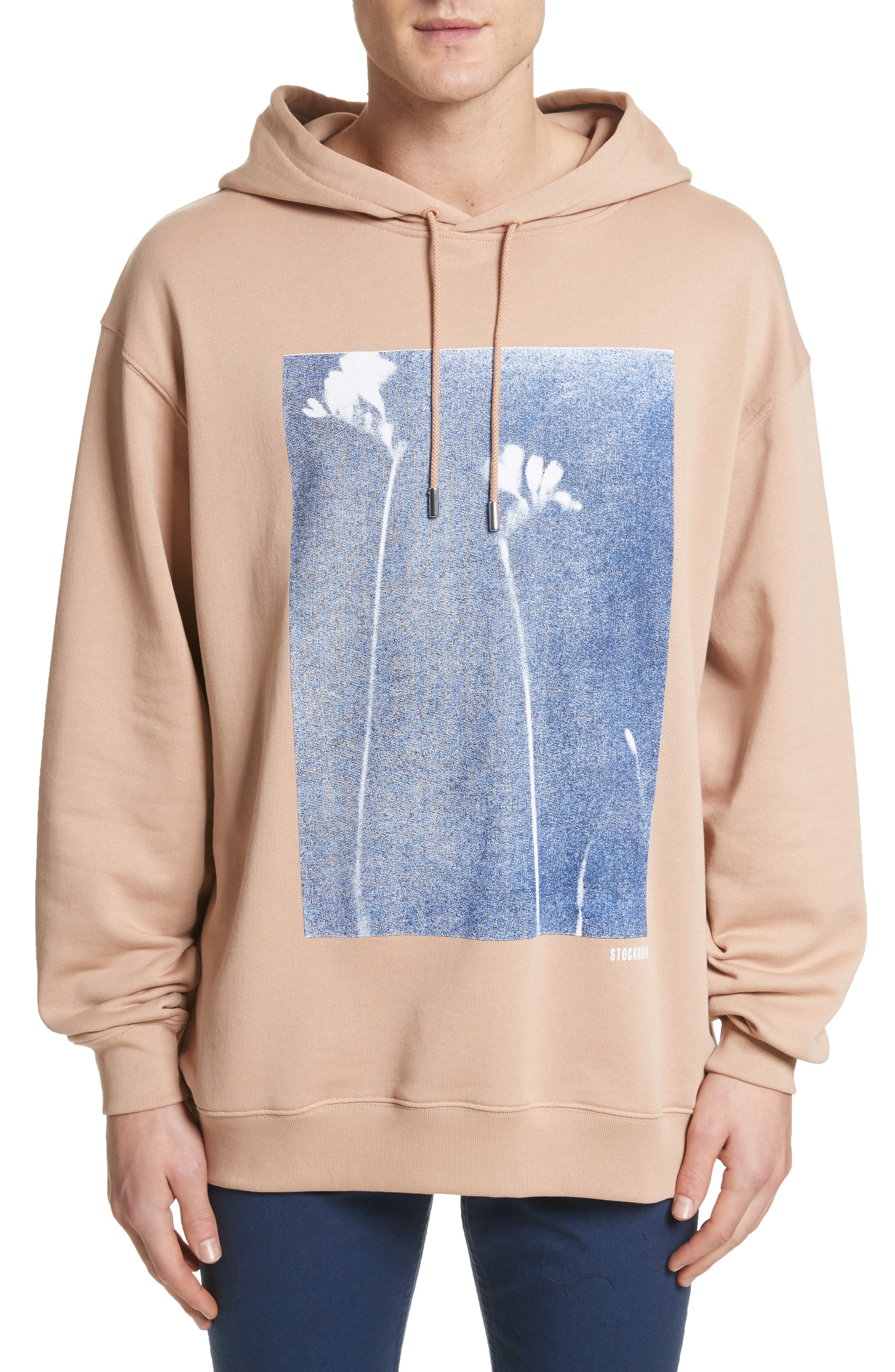 Fala Print Oversized Hoodie,                         Main,                         color, Beige