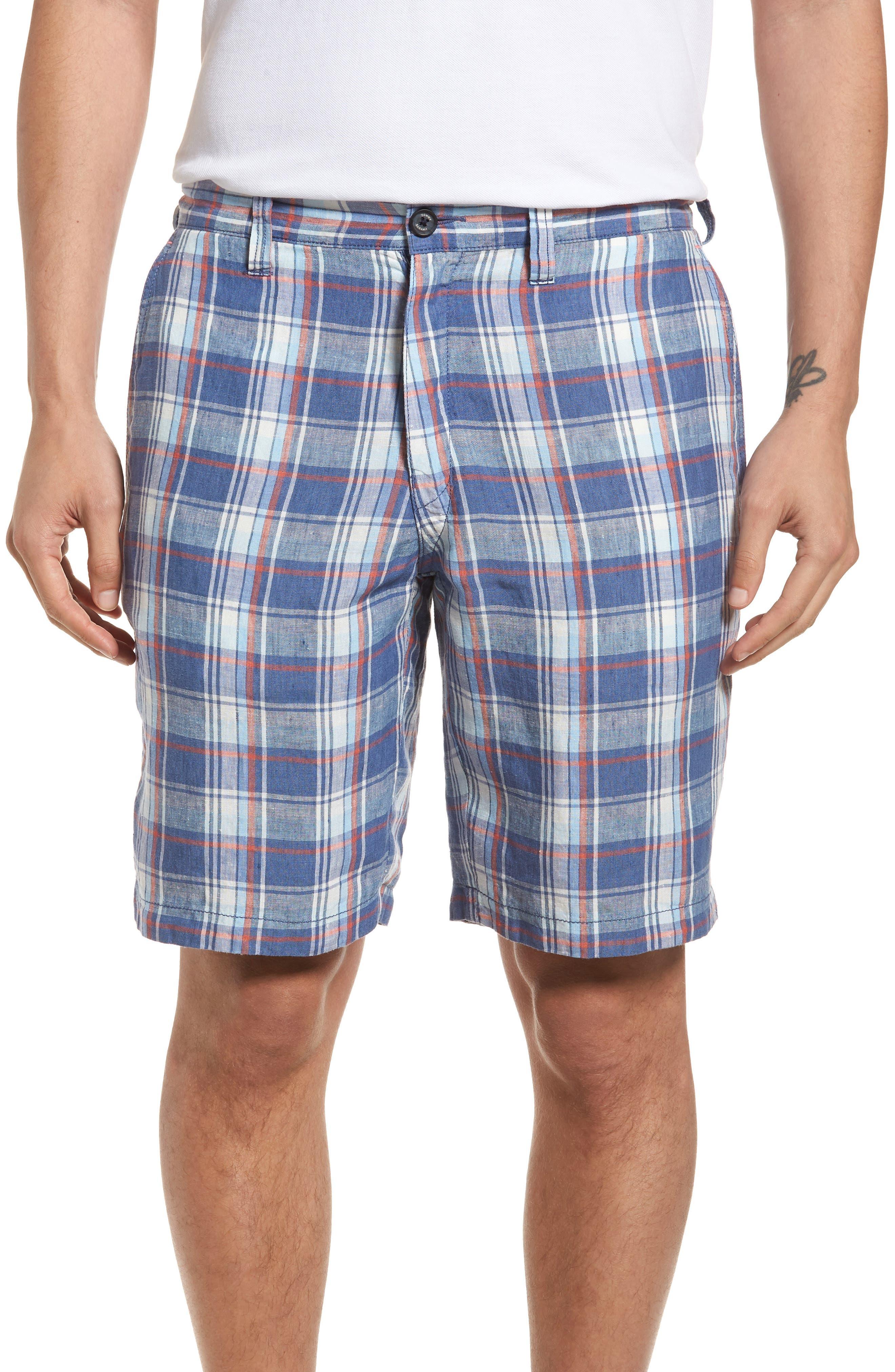 Plaid de Leon Reversible Linen Shorts,                         Main,                         color, Dockside Blue