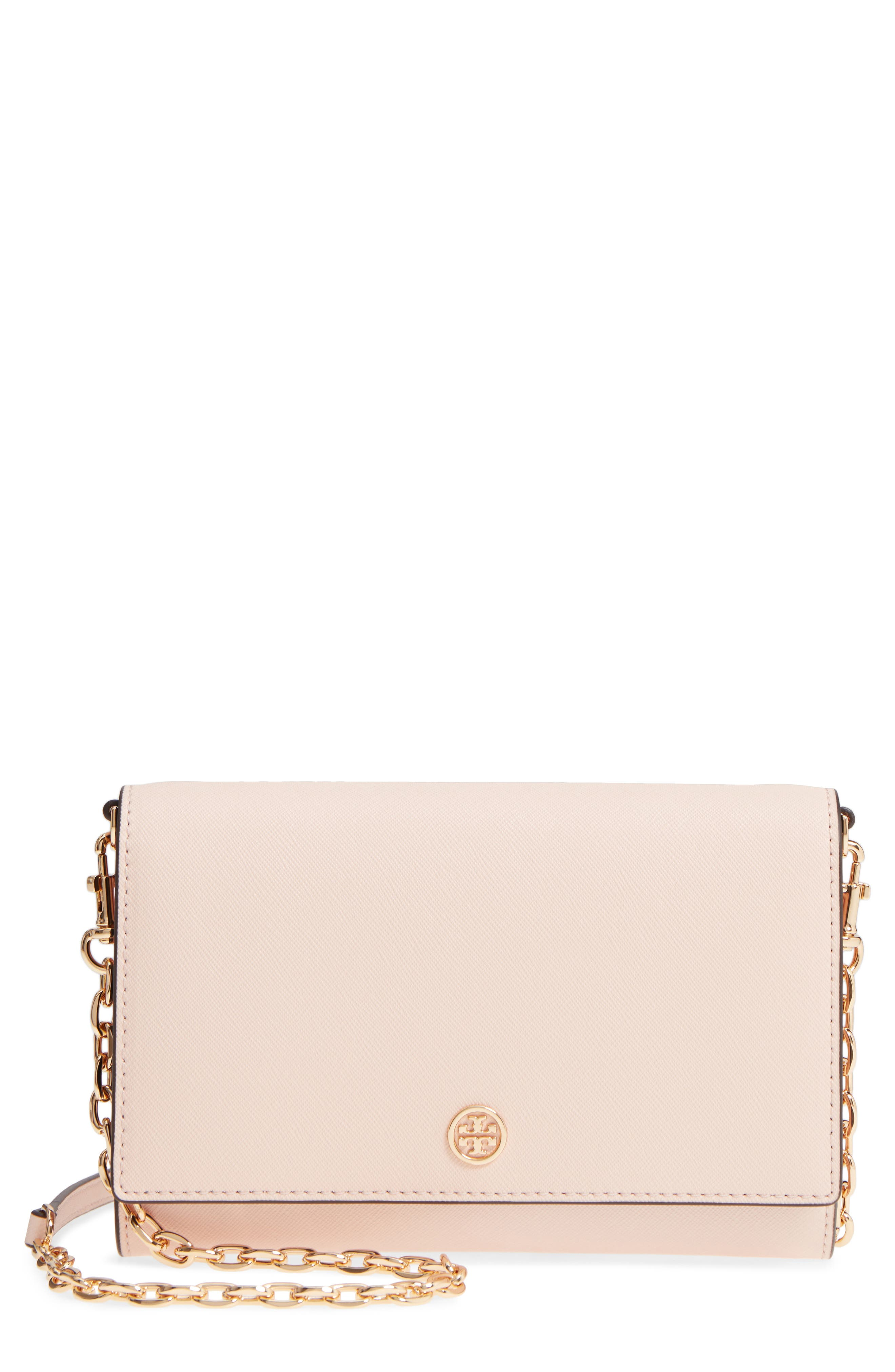 Robinson Leather Wallet on a Chain,                         Main,                         color, Pale Apricot / Royal Navy
