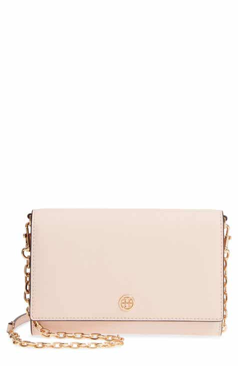 5343b7ea82c Tory Burch Robinson Leather Wallet on a Chain