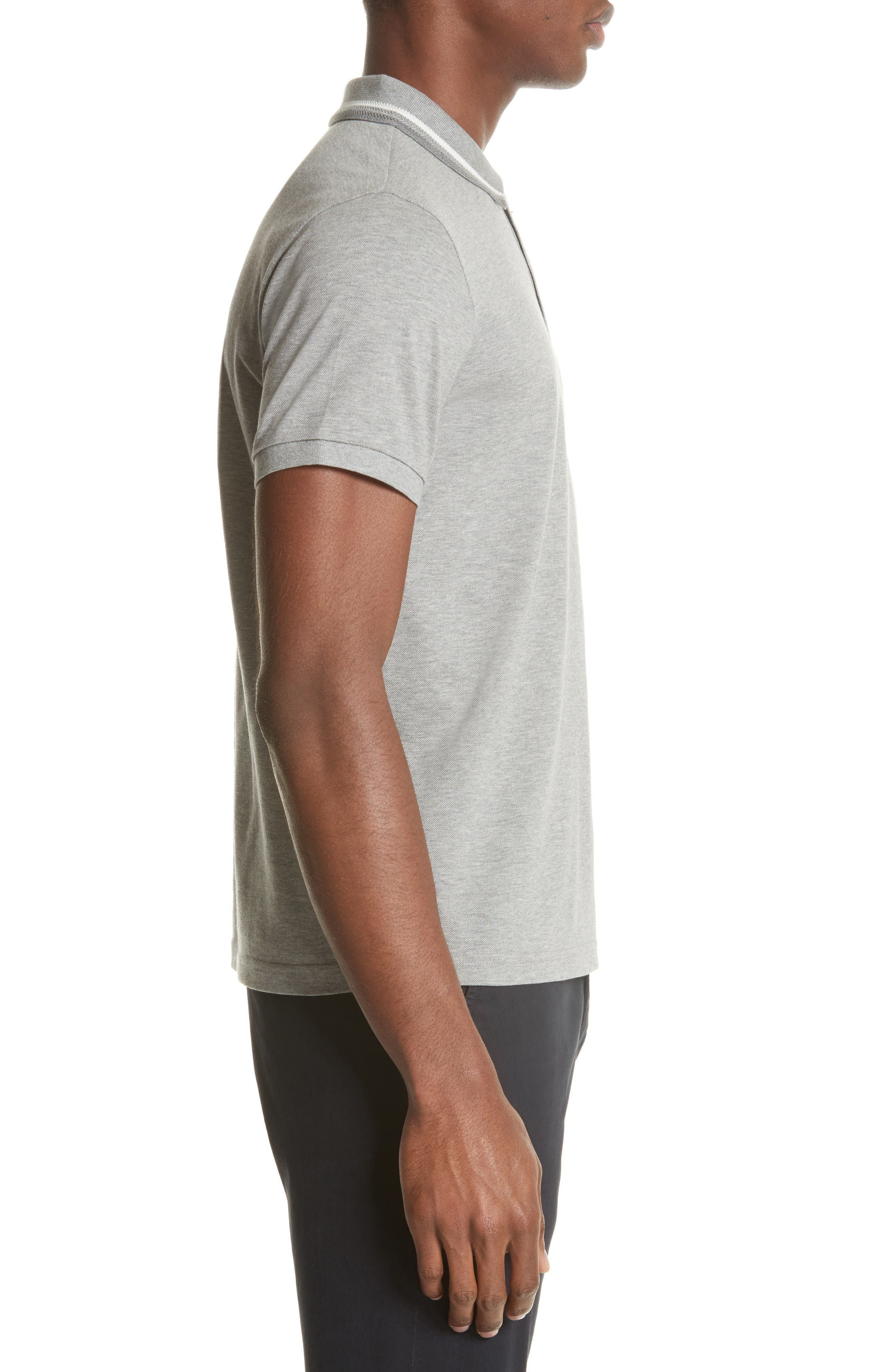 Tipped Jersey Polo,                             Alternate thumbnail 3, color,                             Light Grey