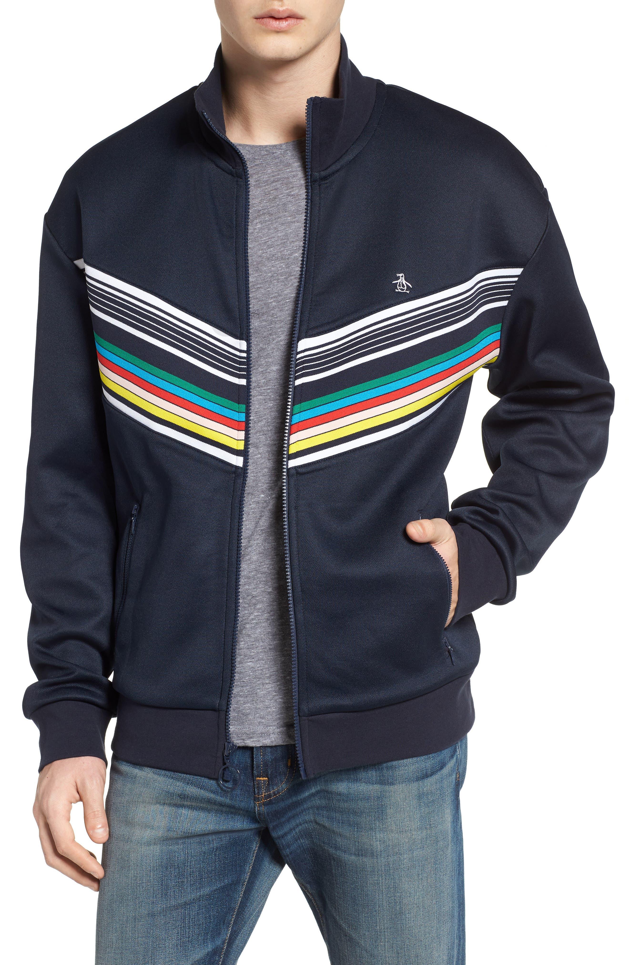 Stripe Track Jacket,                             Main thumbnail 1, color,                             Dark Sapphire