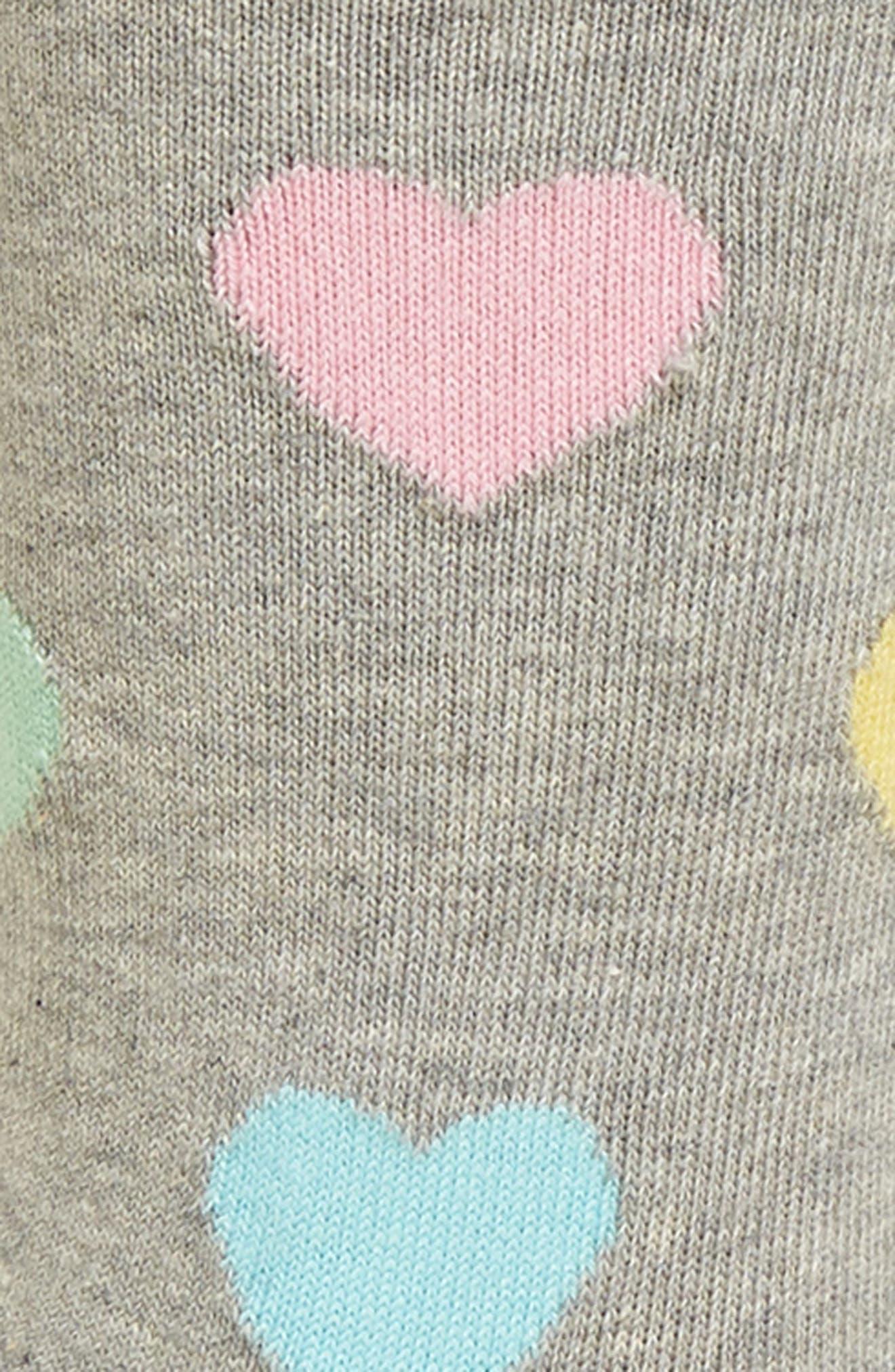 Heart Crew Socks,                             Alternate thumbnail 2, color,                             Grey