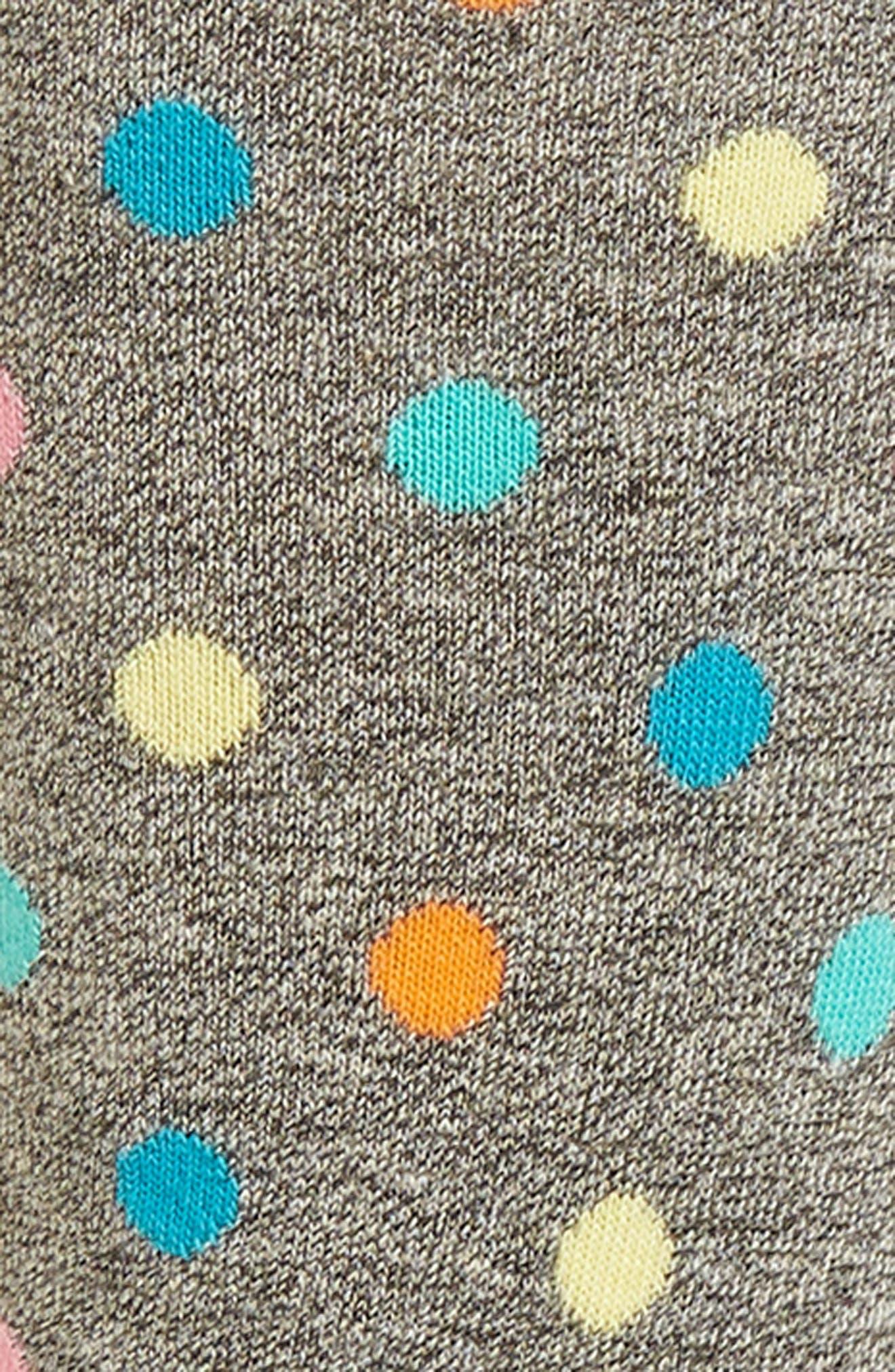 Dot & Stripe Crew Socks,                             Alternate thumbnail 2, color,                             Black
