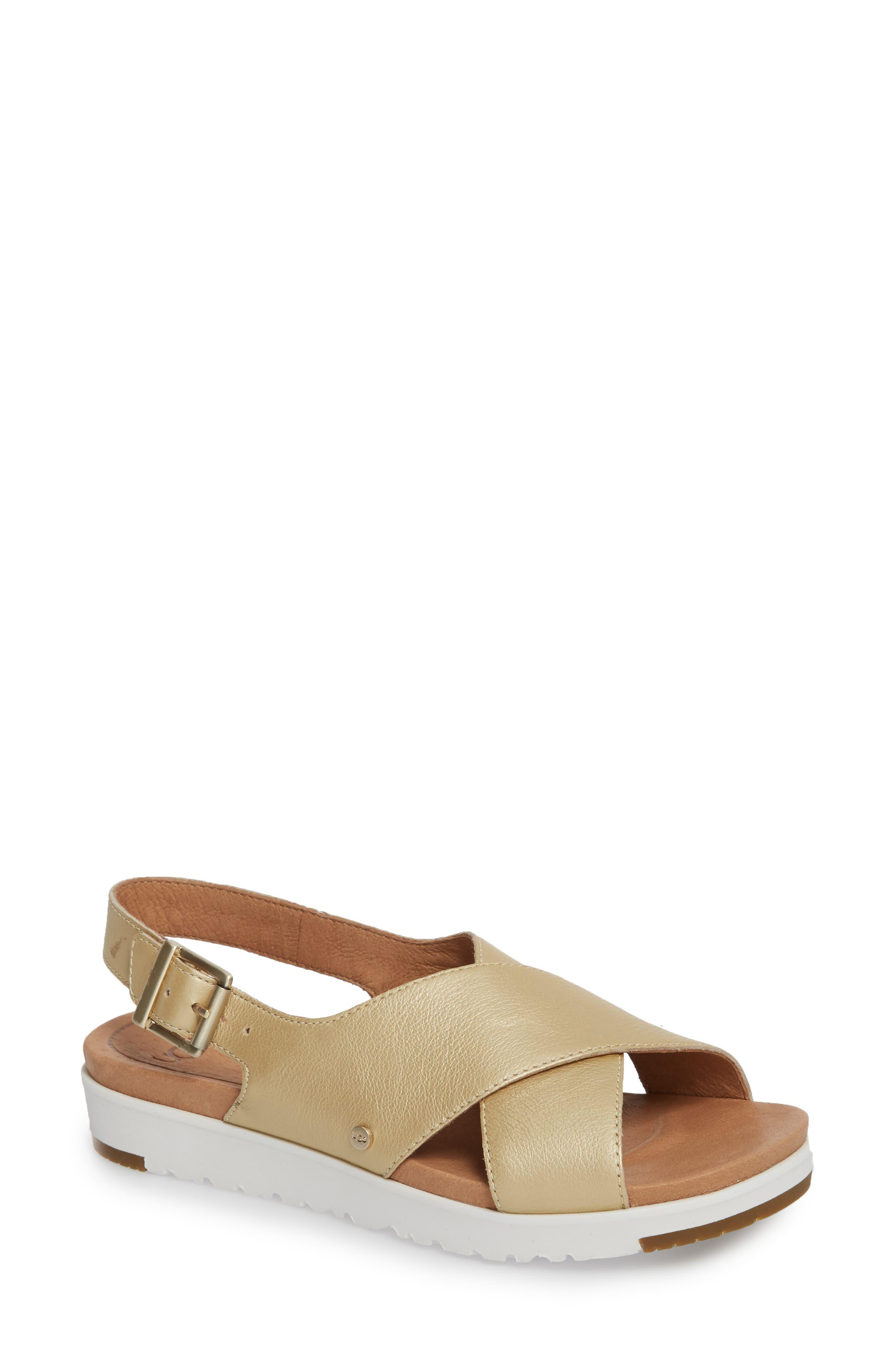 Kamile Slingback Sandal,                         Main,                         color, Gold Leather