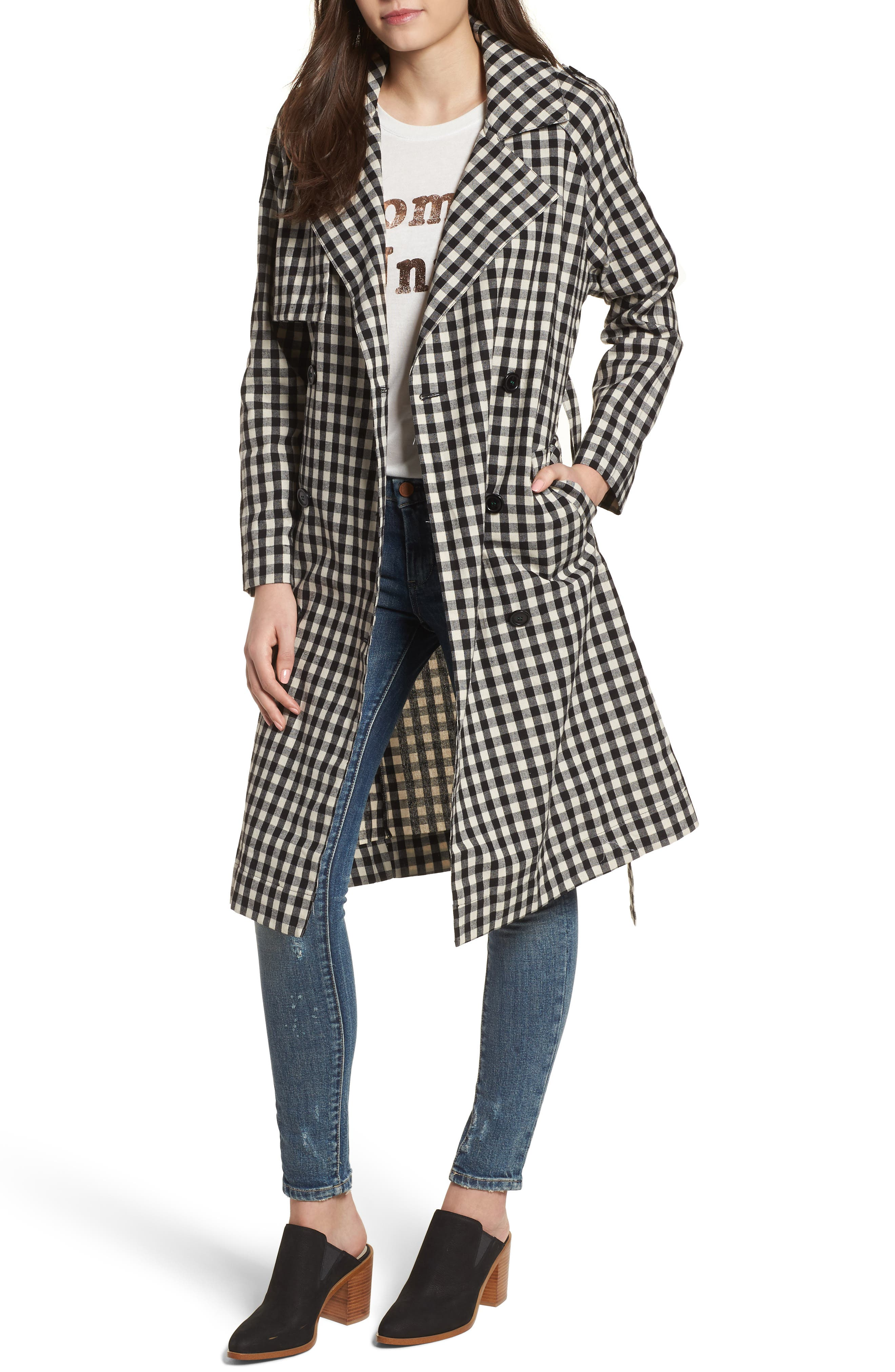 Gingham Trench Coat,                         Main,                         color, Black/ White