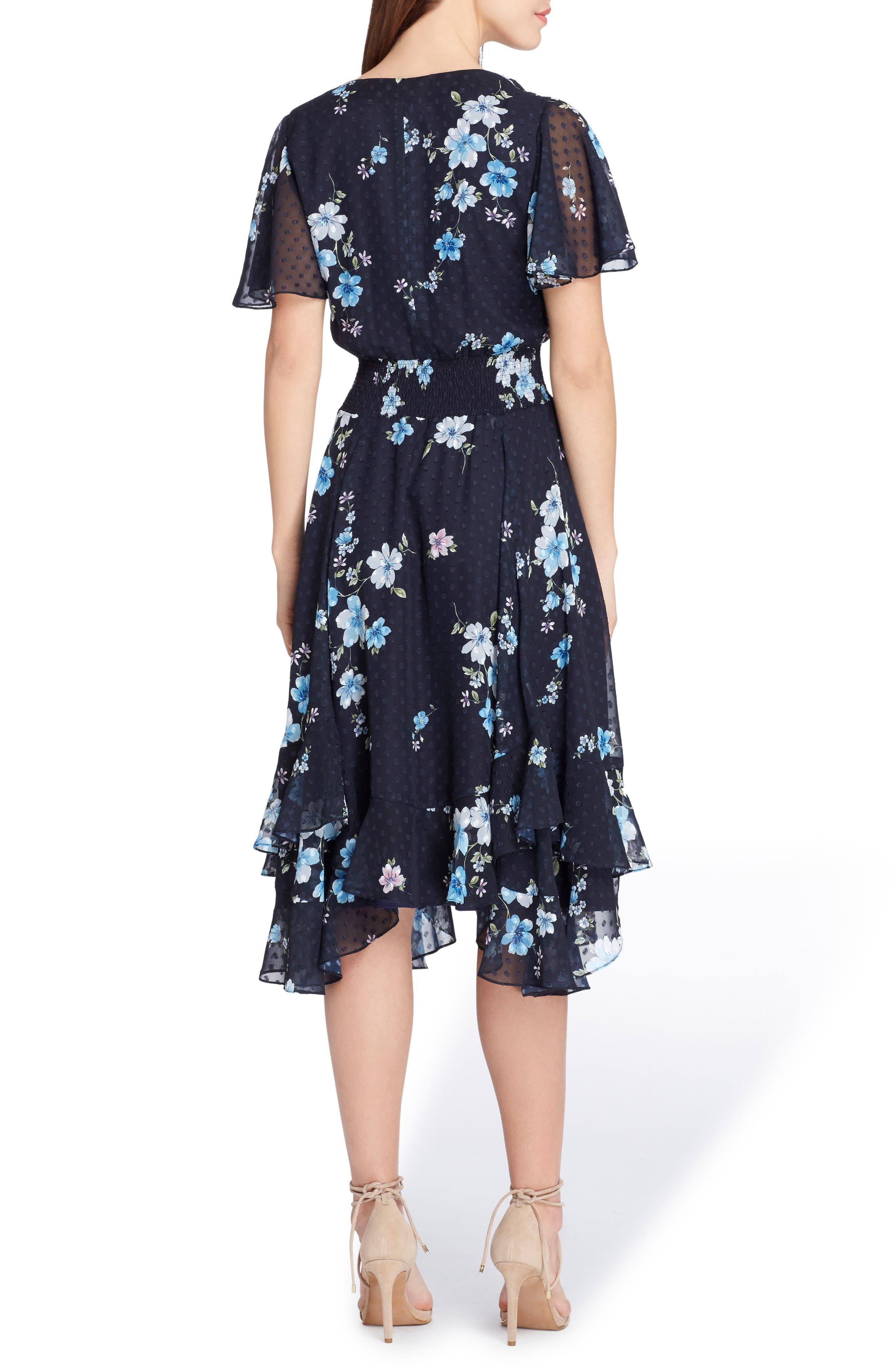 Alternate Image 2  - Tahari Floral Print Flutter Sleeve Dress