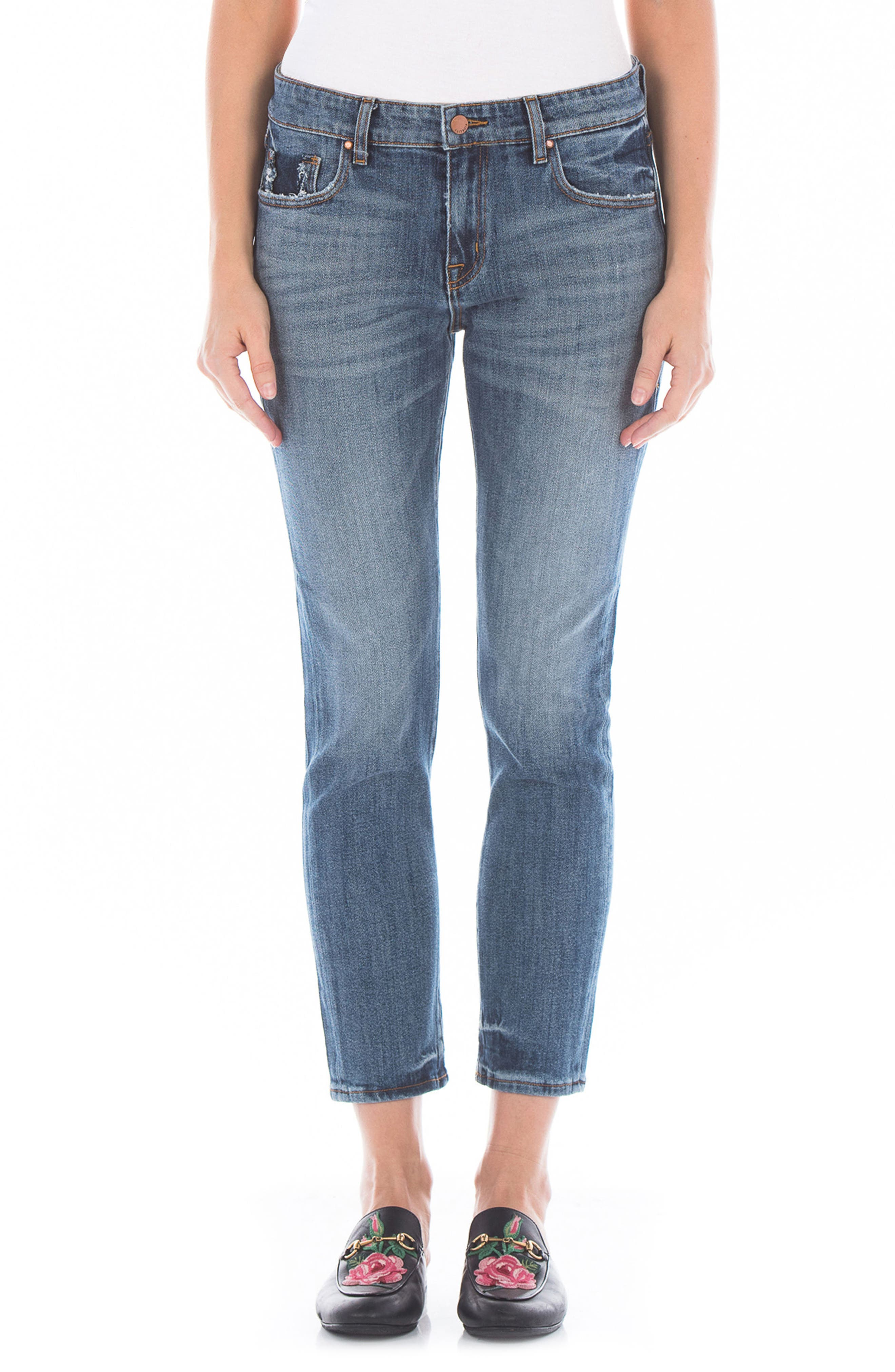 Dee Dee Distressed Crop Jeans,                         Main,                         color, Victorian Blue