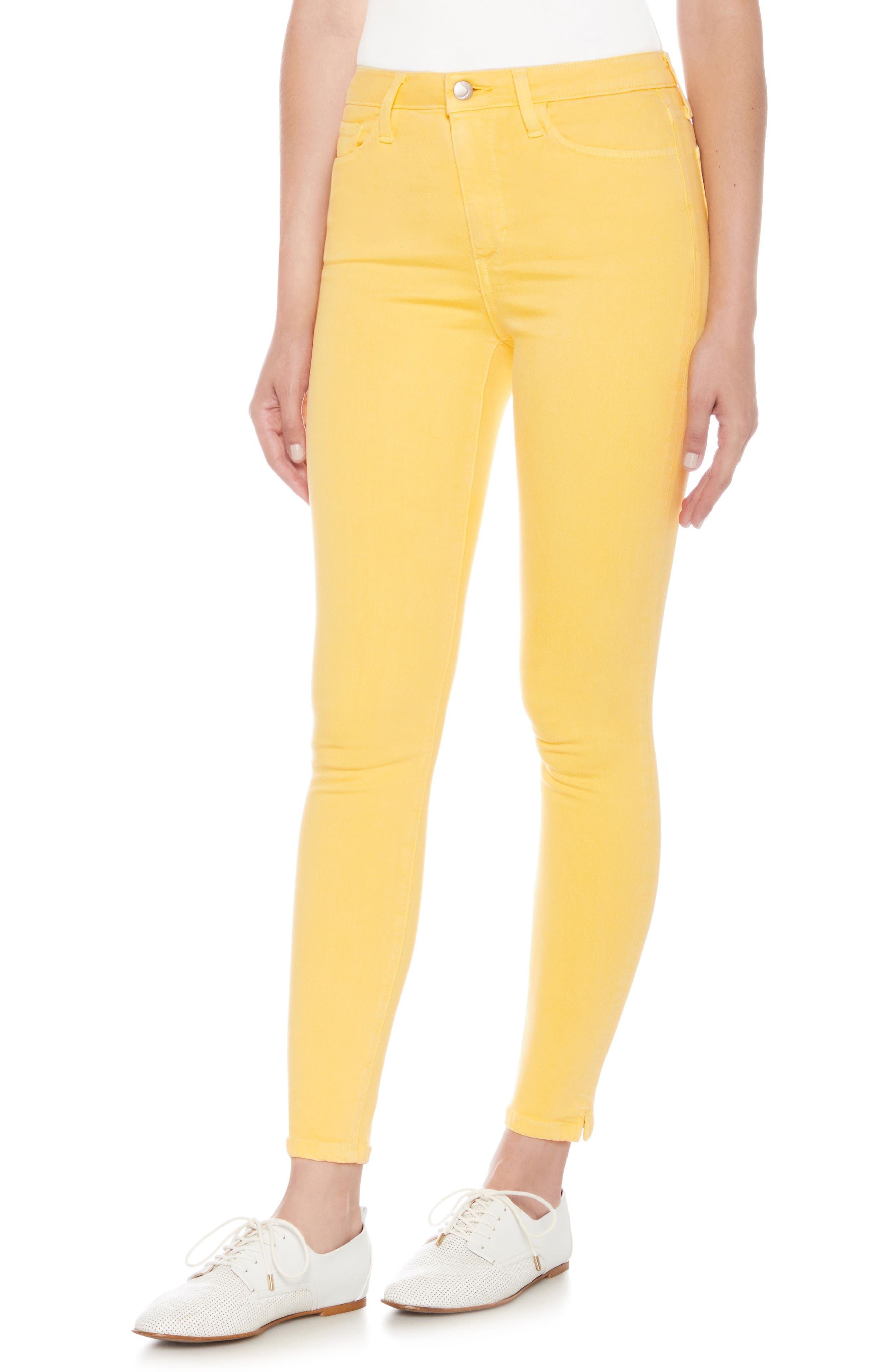 Charlie High Waist Ankle Skinny Jeans,                             Main thumbnail 1, color,                             Pale Marigold