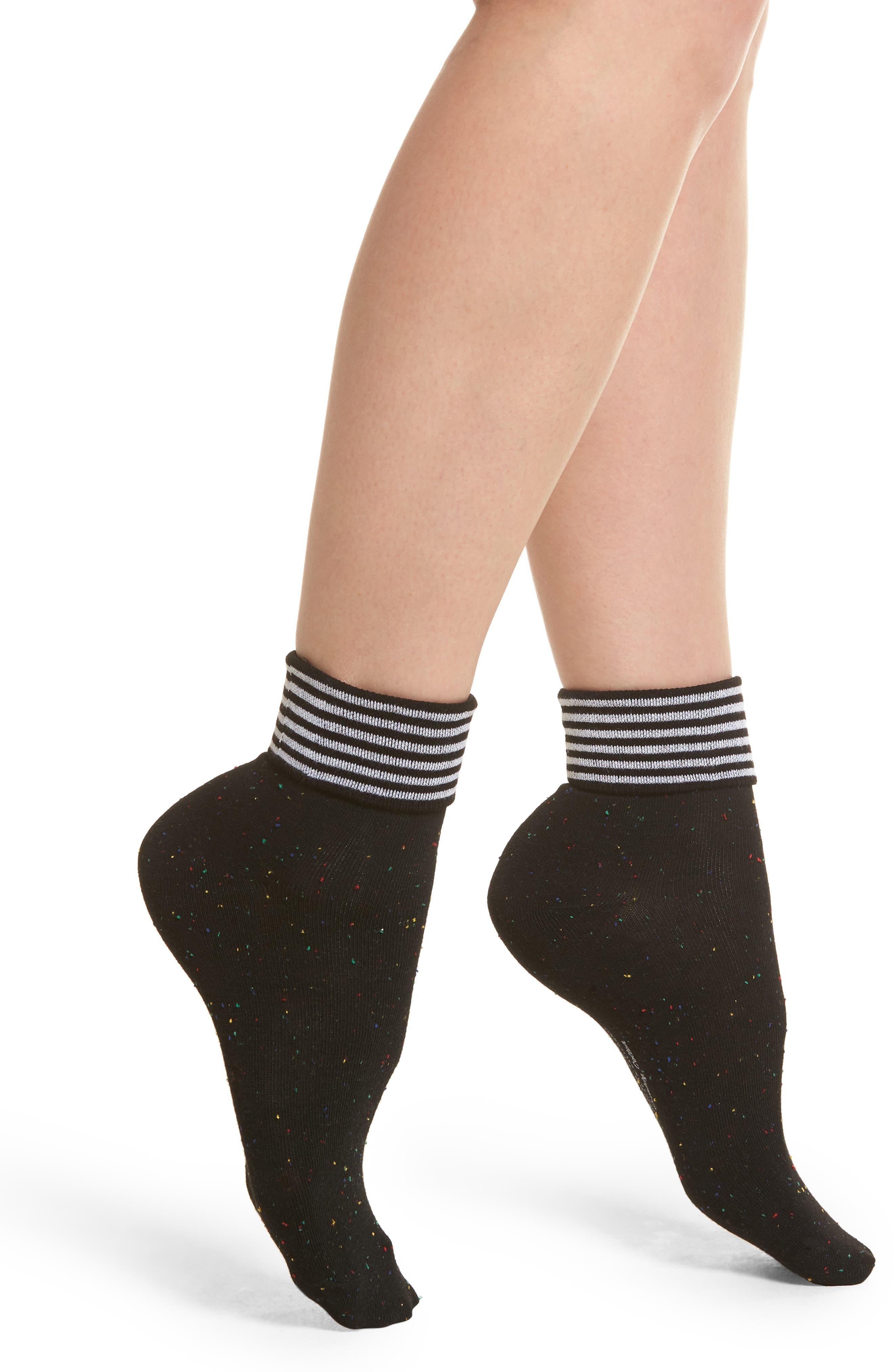 Tina Foldover Ankle Socks,                             Main thumbnail 1, color,                             Black