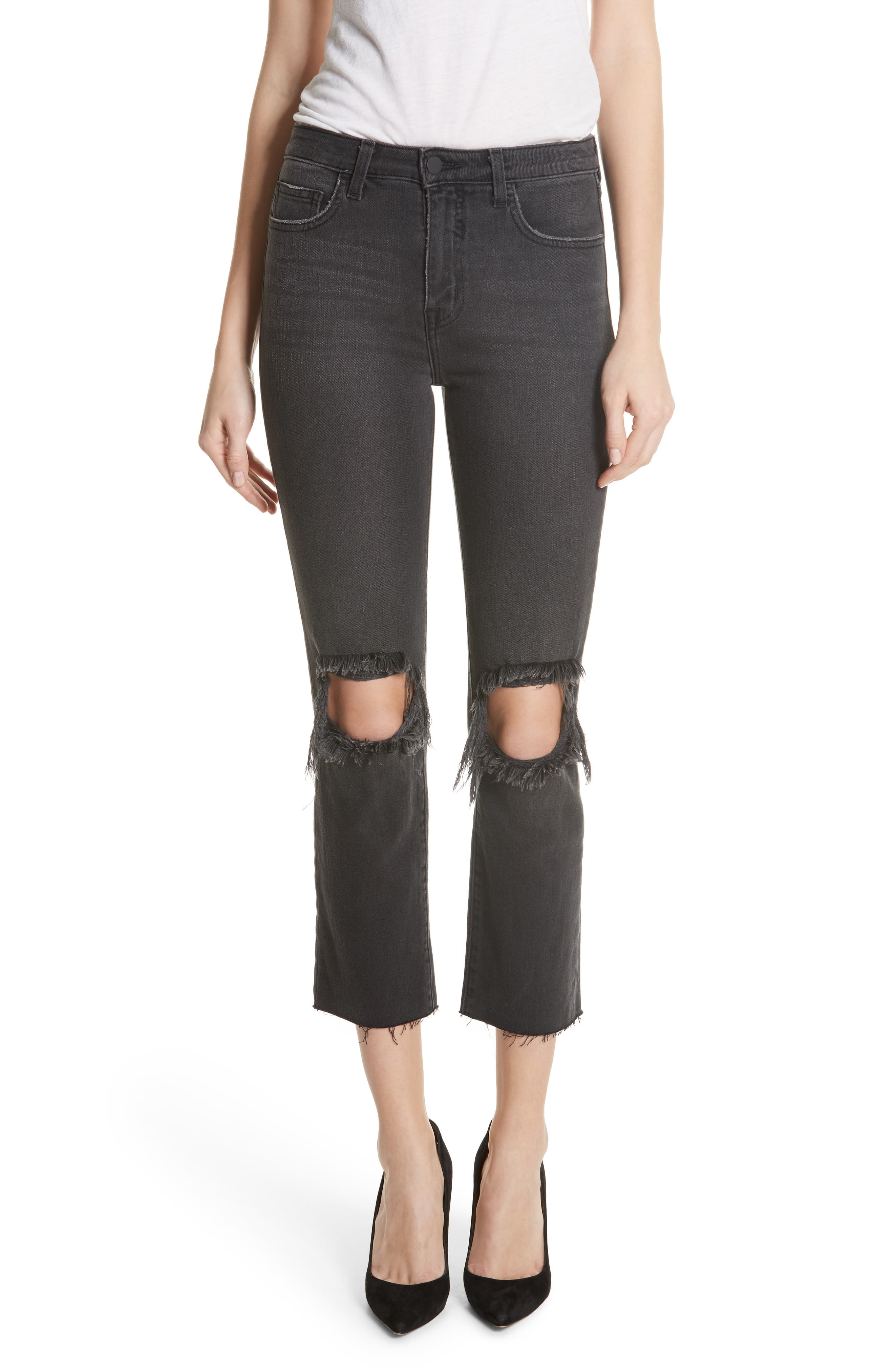 Audrina Ripped Straight Leg Jeans,                         Main,                         color, Vintage Black Worn Destruct