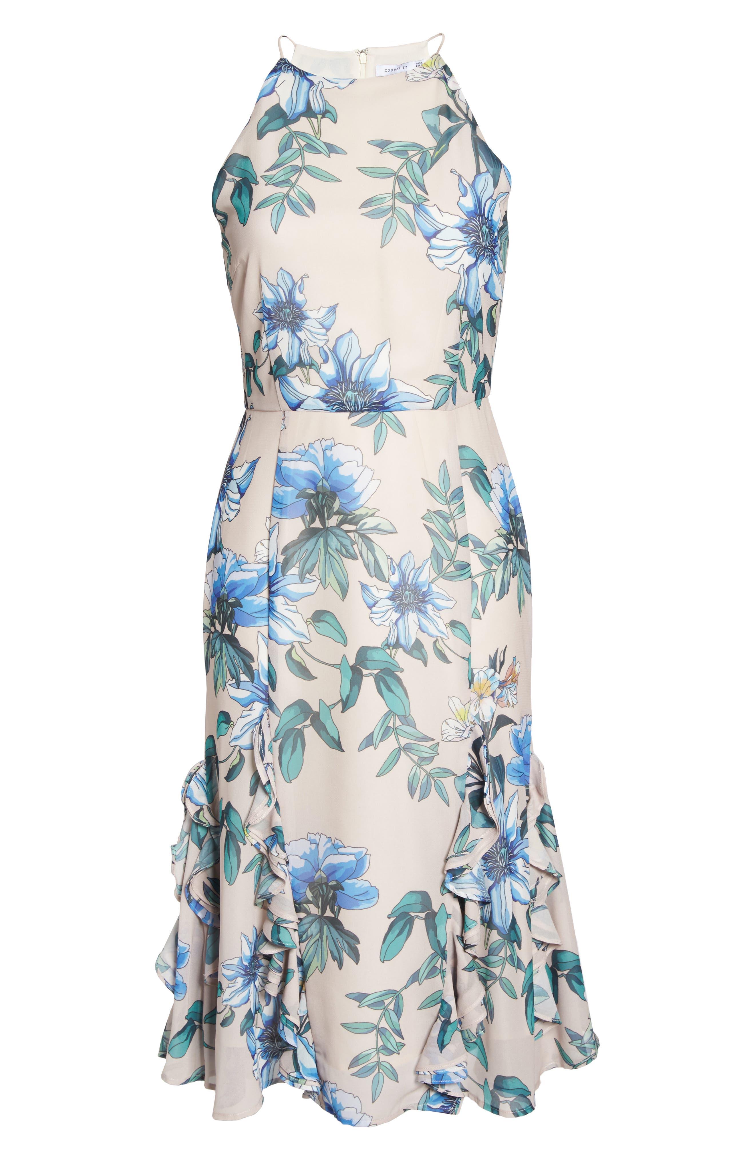 Floral Courtyard Midi Dress,                             Alternate thumbnail 6, color,                             Print Light