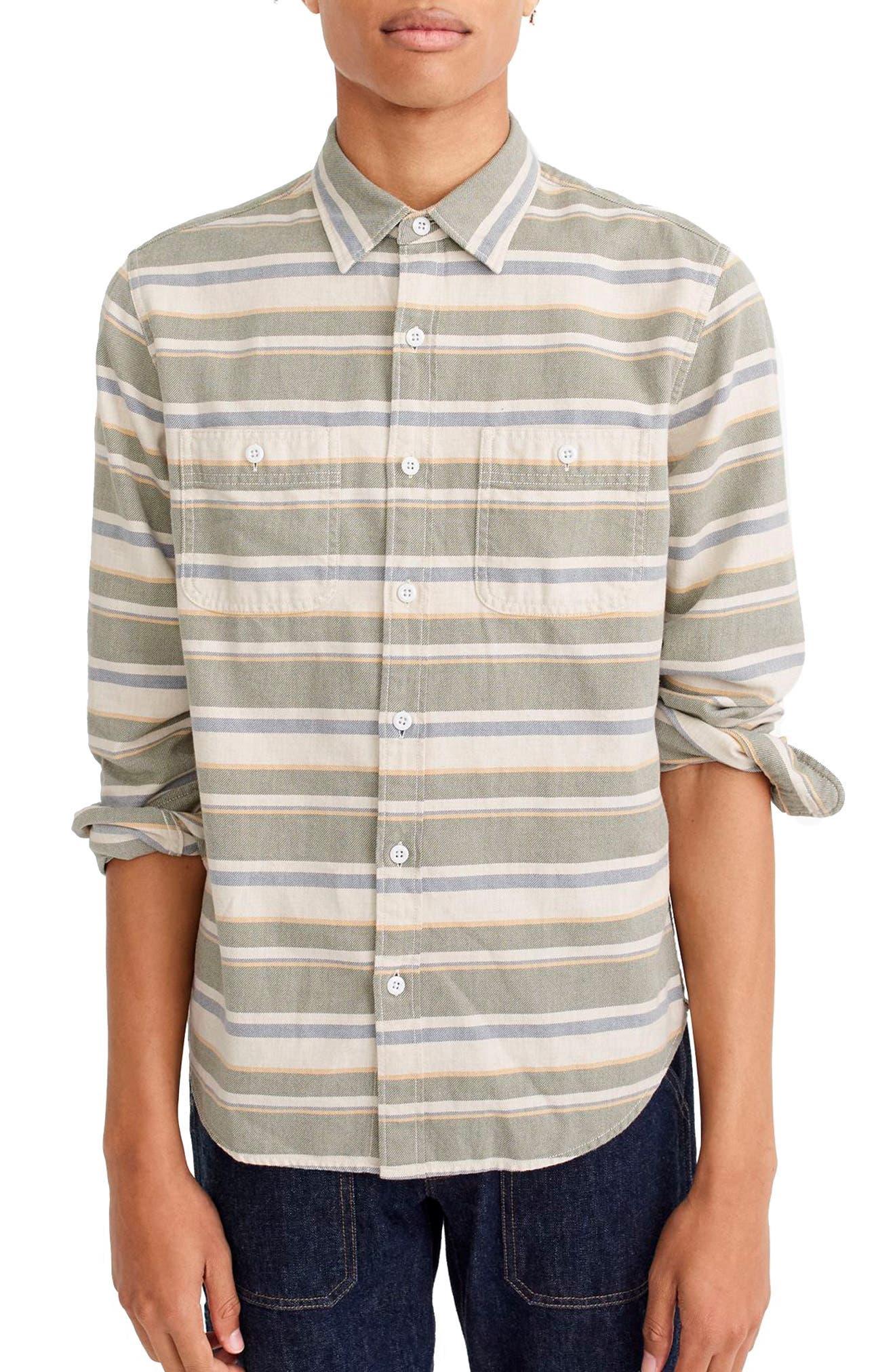 Classic Fit Deck Stripe Work Shirt,                         Main,                         color, Ivy Multi