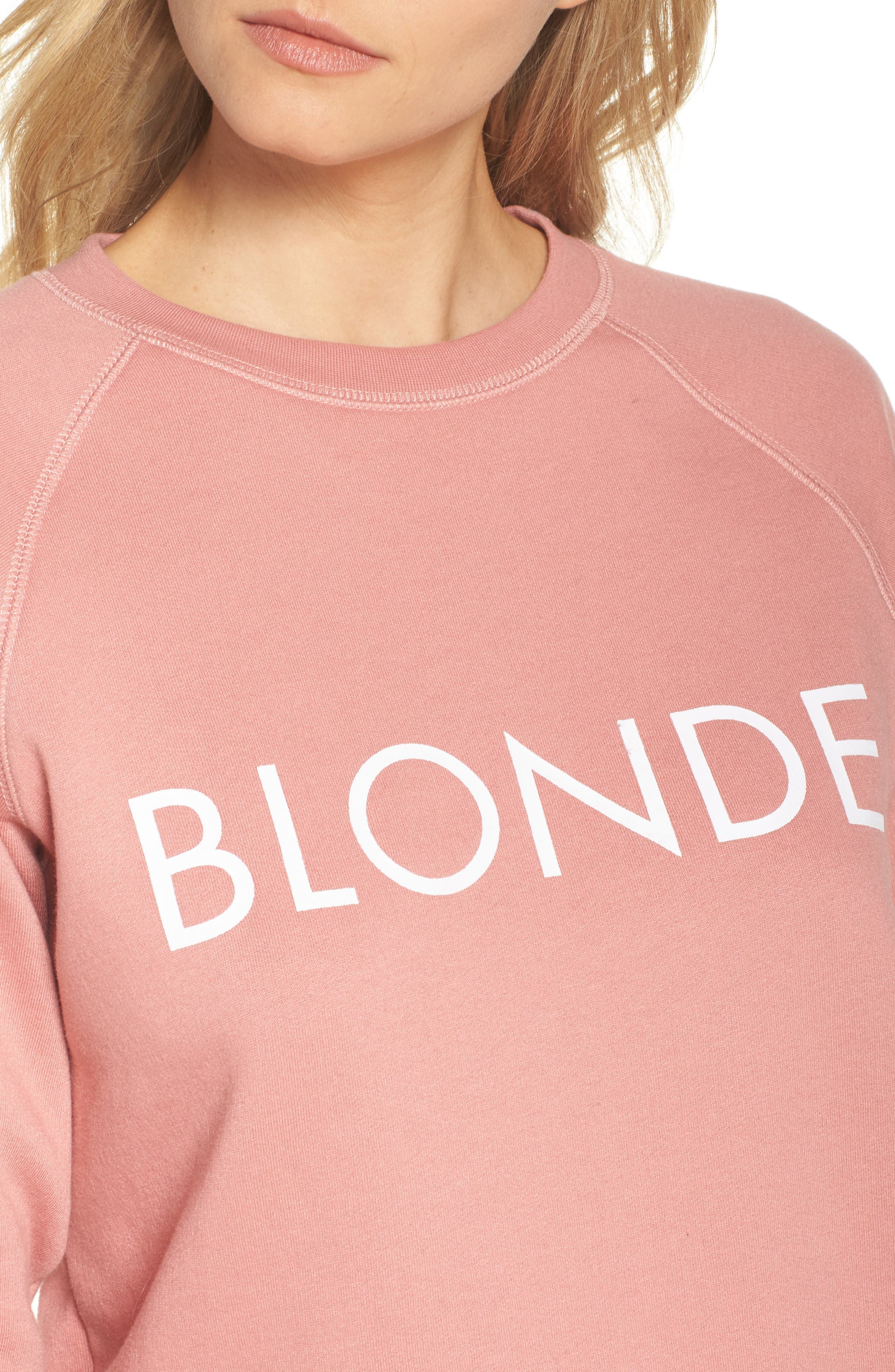 Blonde Crewneck Sweatshirt,                             Alternate thumbnail 5, color,                             Dusty Rose